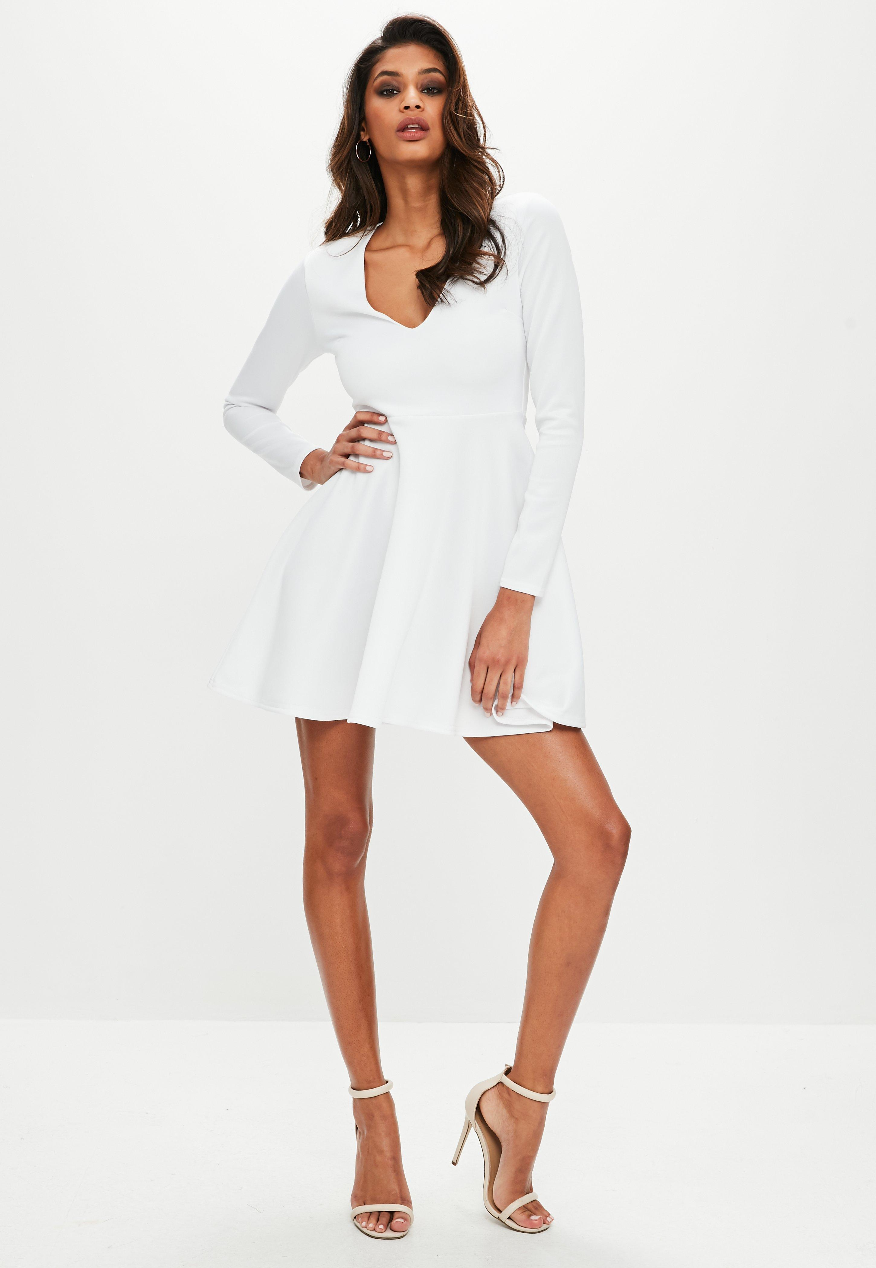 96d615c8b8f8 Lyst - Missguided White Scuba Plunge Long Sleeve Skater Dress in White