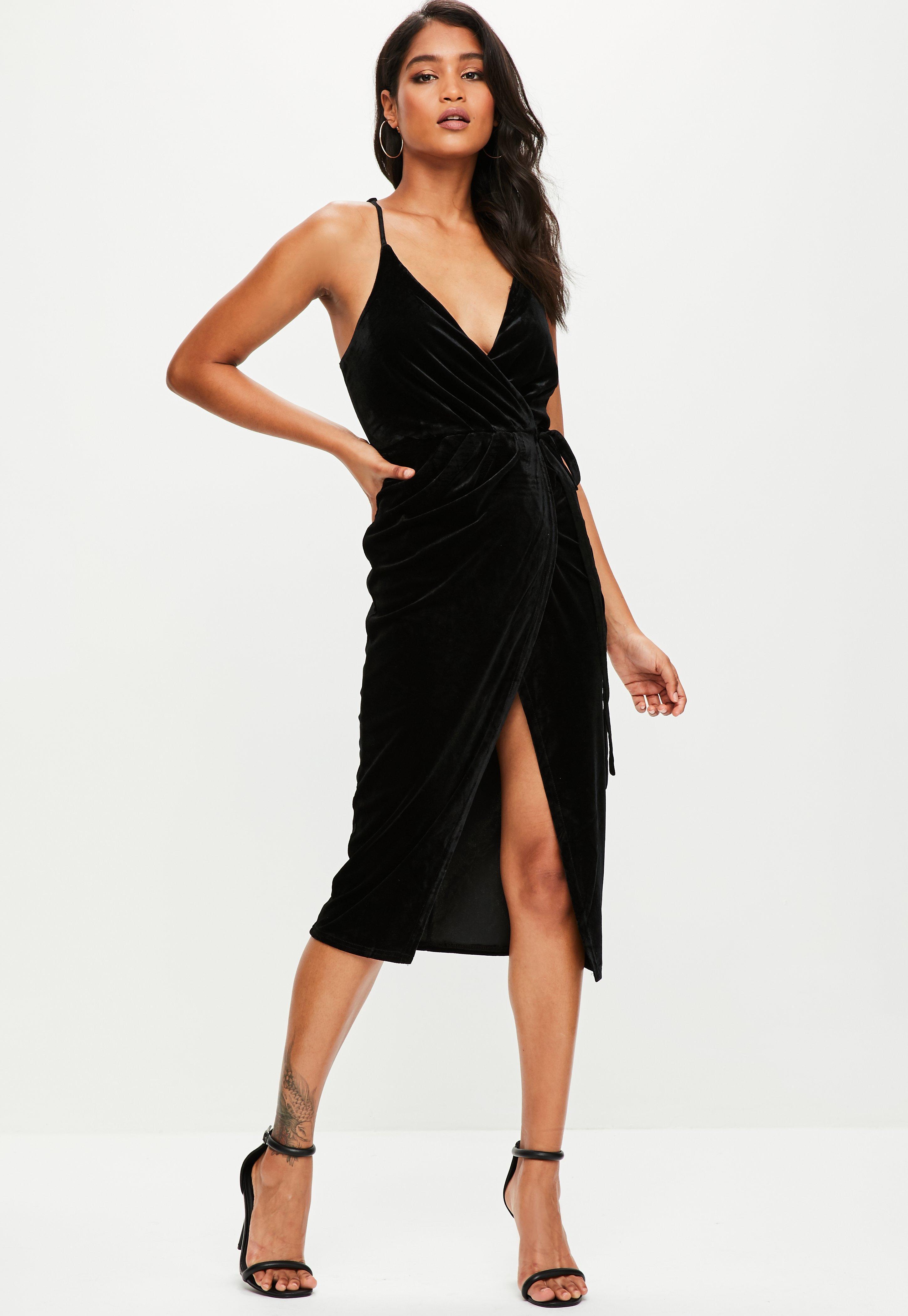 Missguided velvet racer high neck midi dress black in black lyst - Missguided Women S Black Velvet Midi Cami Dress