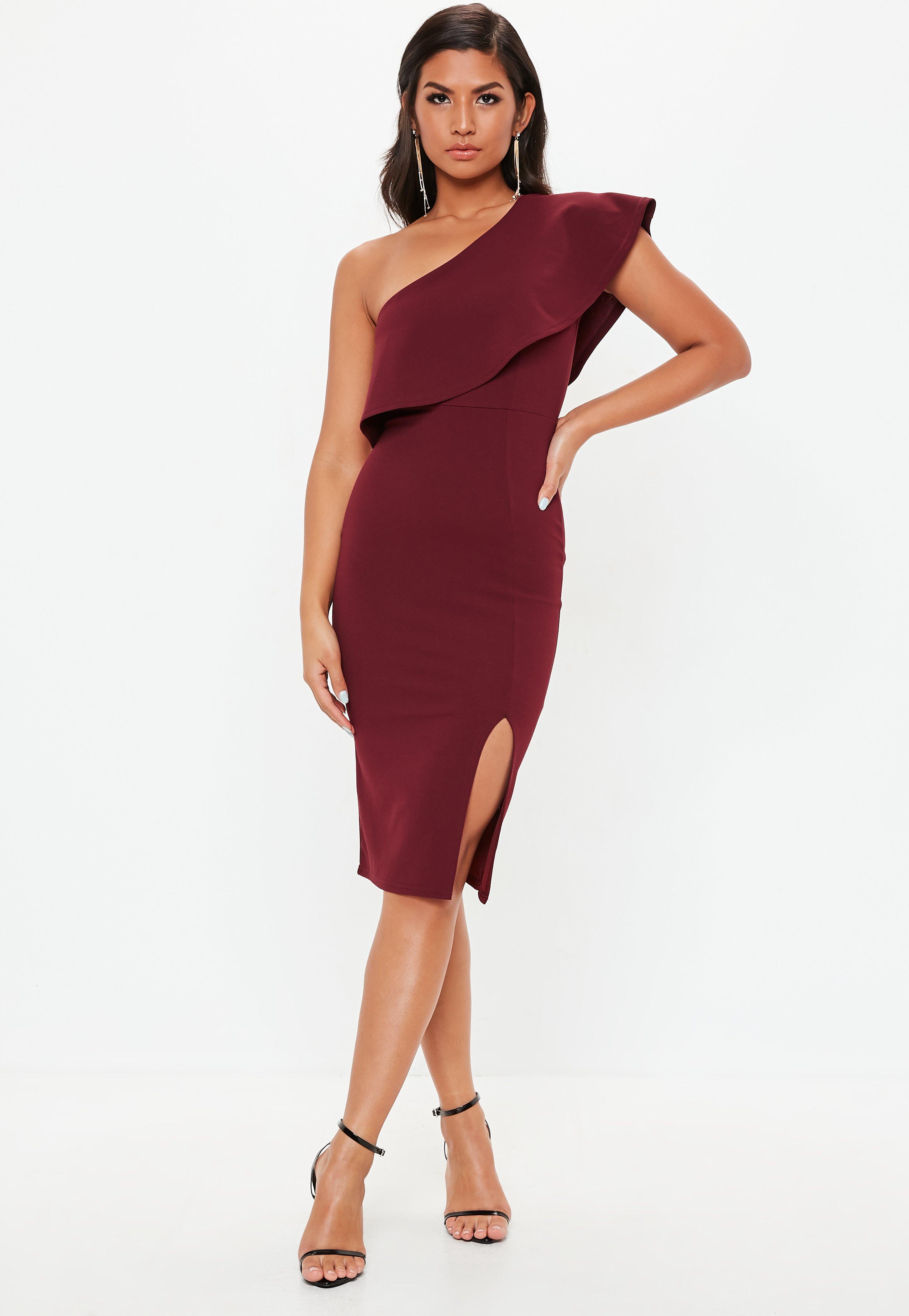 1043ad2998af4 ... Burgundy Scuba One Shoulder Midi Dress - Lyst. View fullscreen