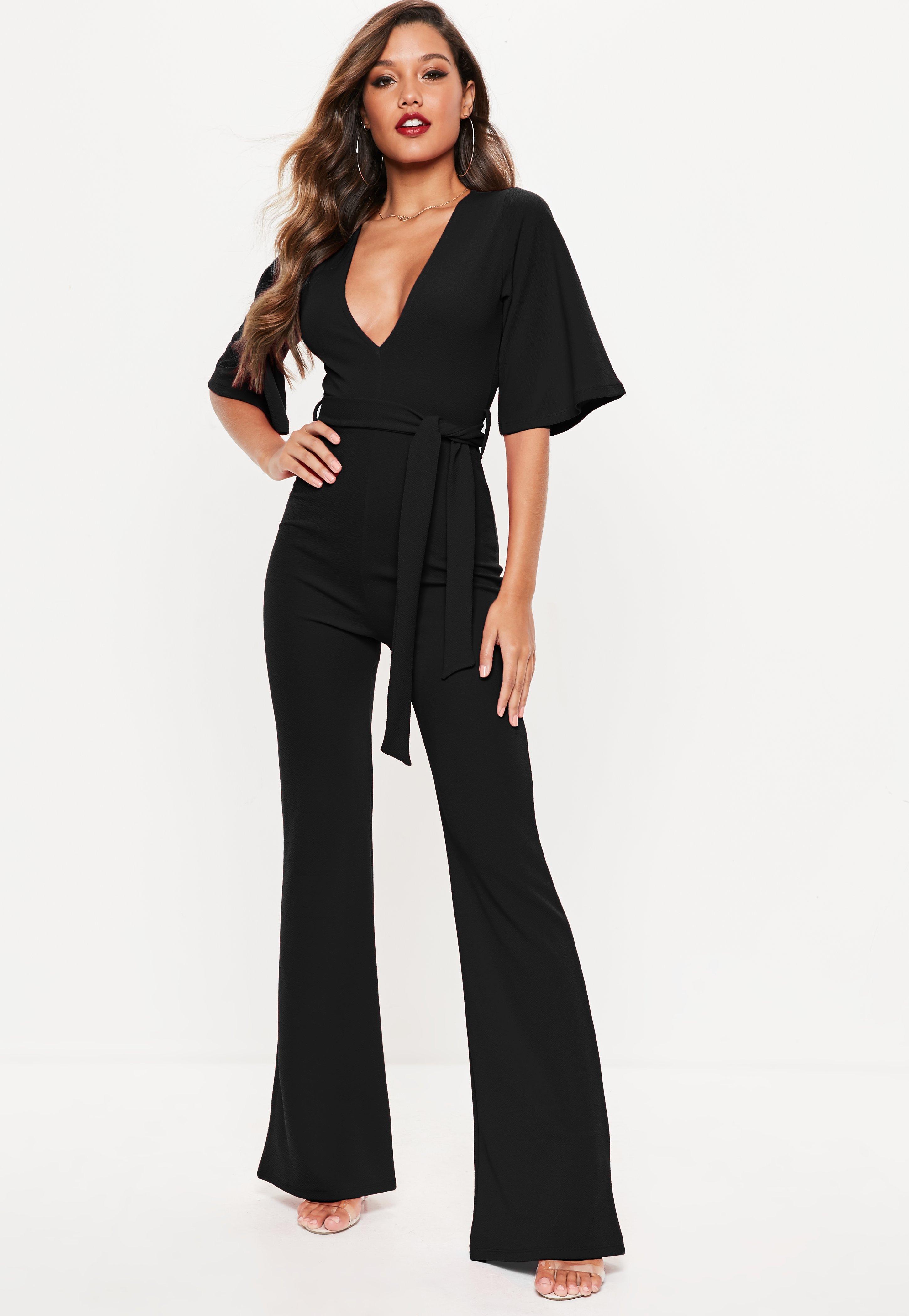 0c5481295dd Lyst - Missguided Petite Black Plunge Kimono Sleeve Jumpsuit in Black