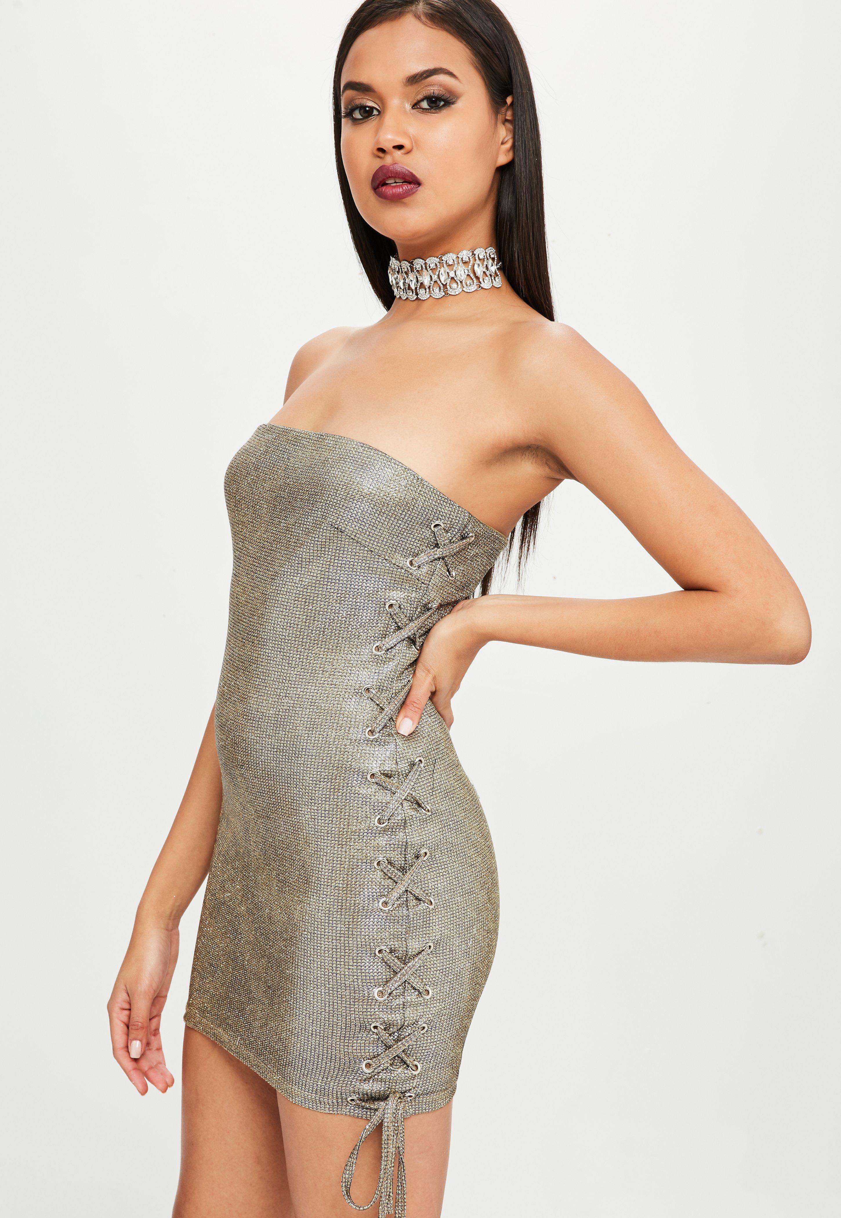 f04ae167a58a Missguided Carli Bybel X Gold Metallic Bandeau Dress in Metallic - Lyst
