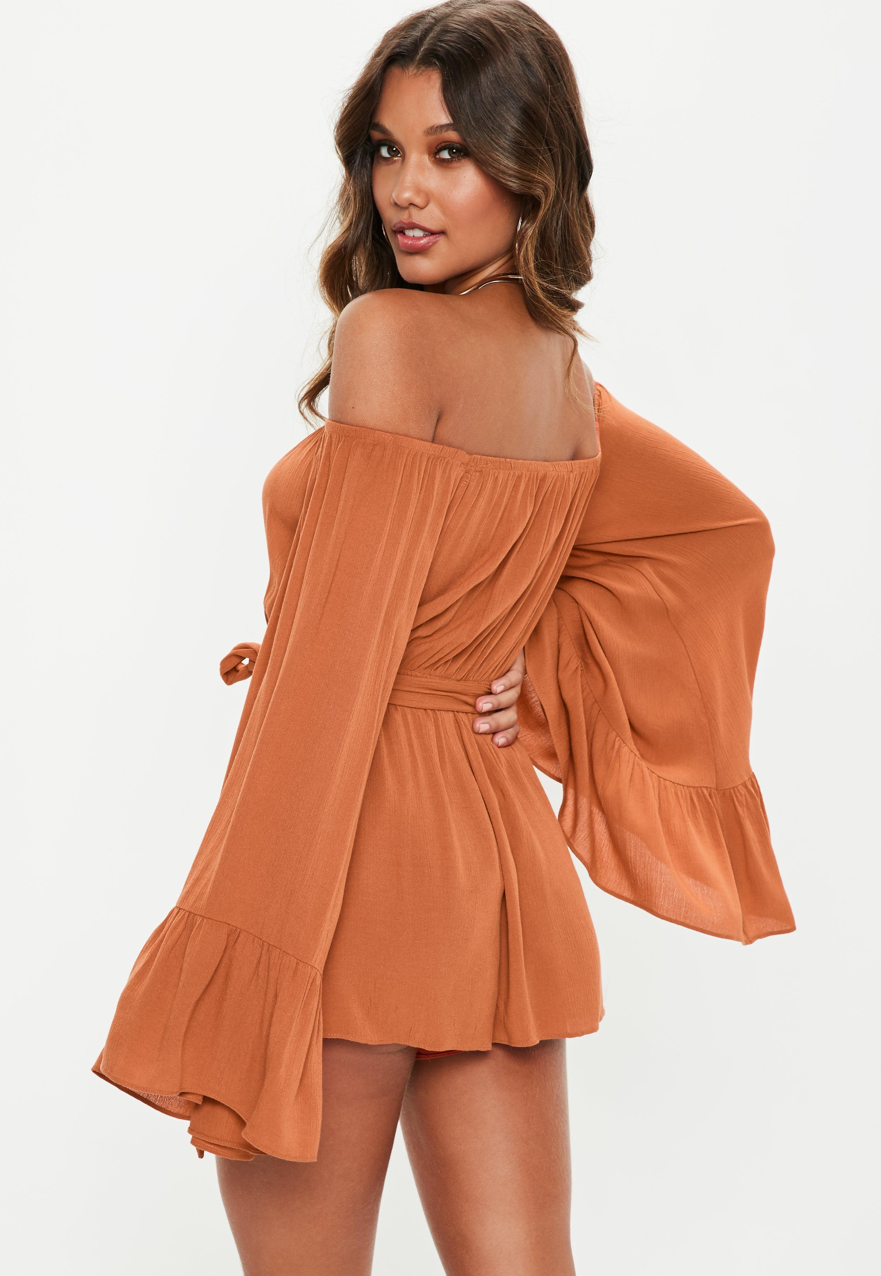 a6f05662d16 Missguided - Brown Rust Flare Sleeve Bardot Playsuit - Lyst. View fullscreen