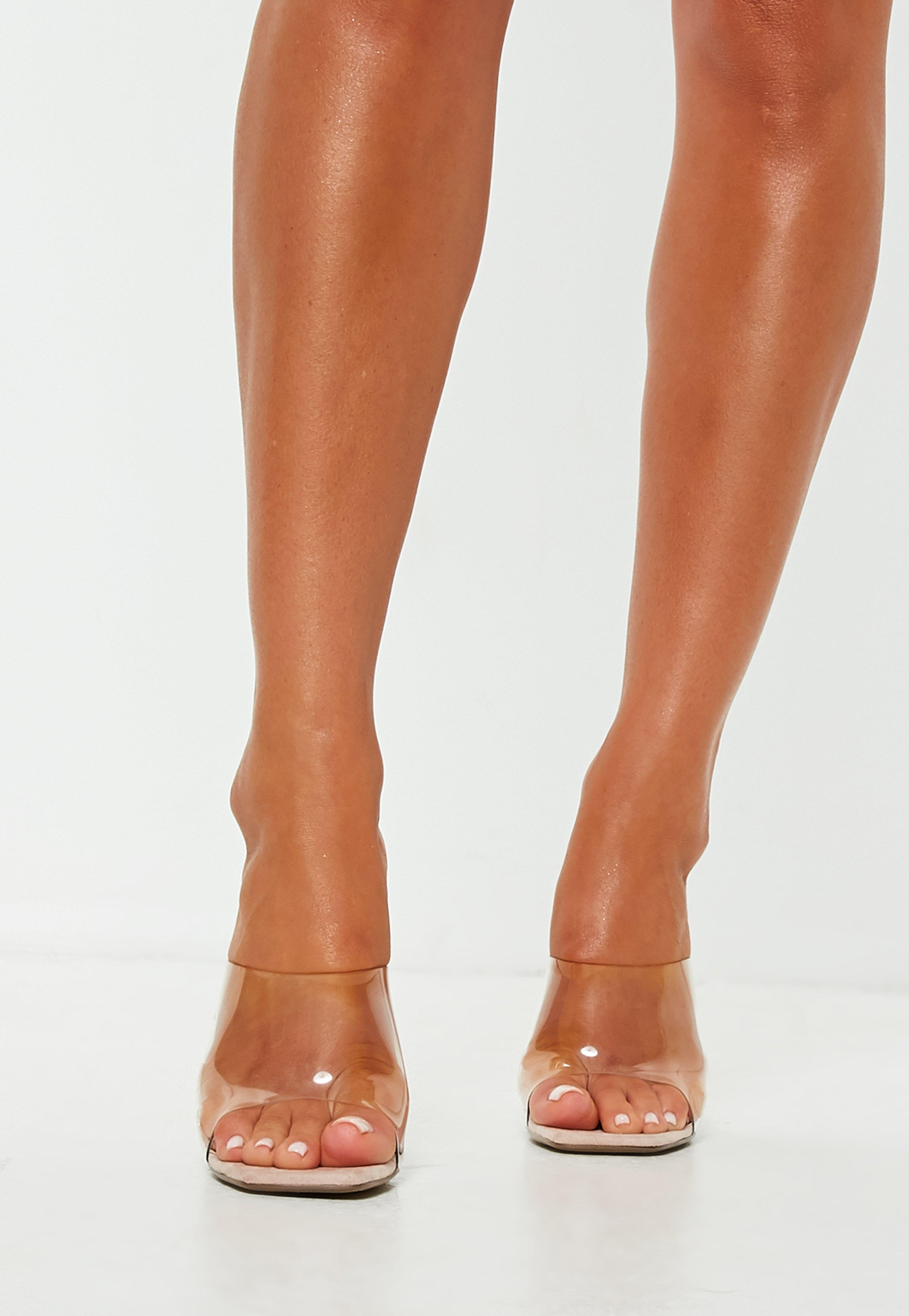 Nude Square Toe Flat Block Heel Strappy Sandal