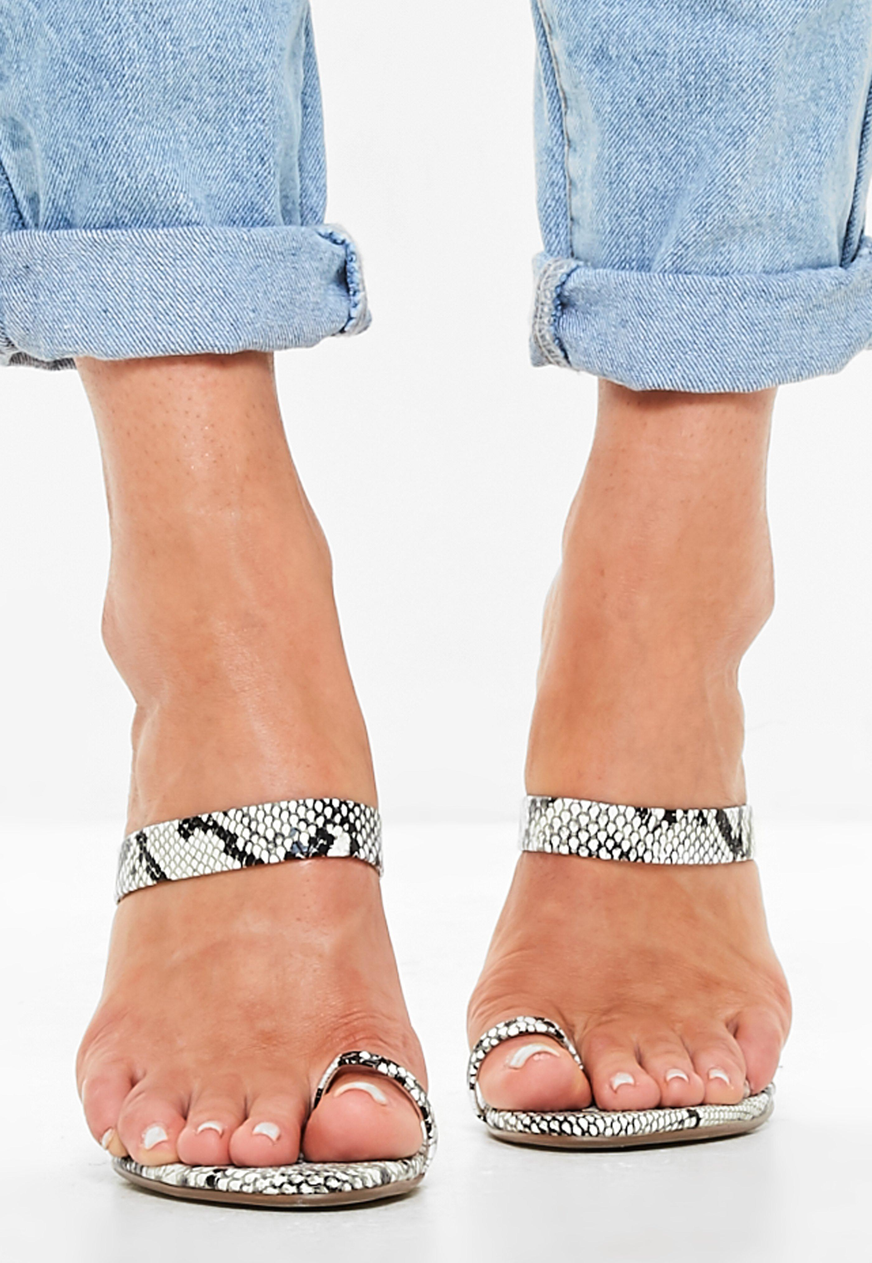 879c4b5283 Missguided - White Snake Print Toe Post Barely There Mules - Lyst. View  fullscreen