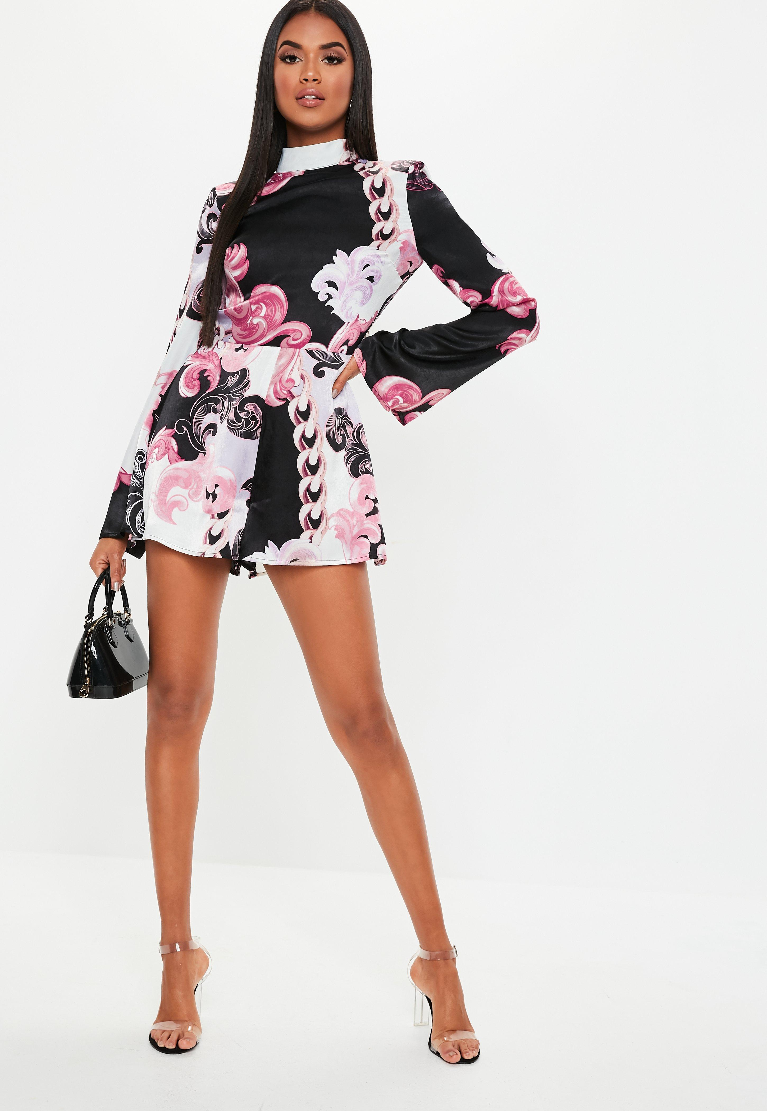 3a49456499 Missguided Pink Floral Paisley Satin Playsuit in Pink - Lyst
