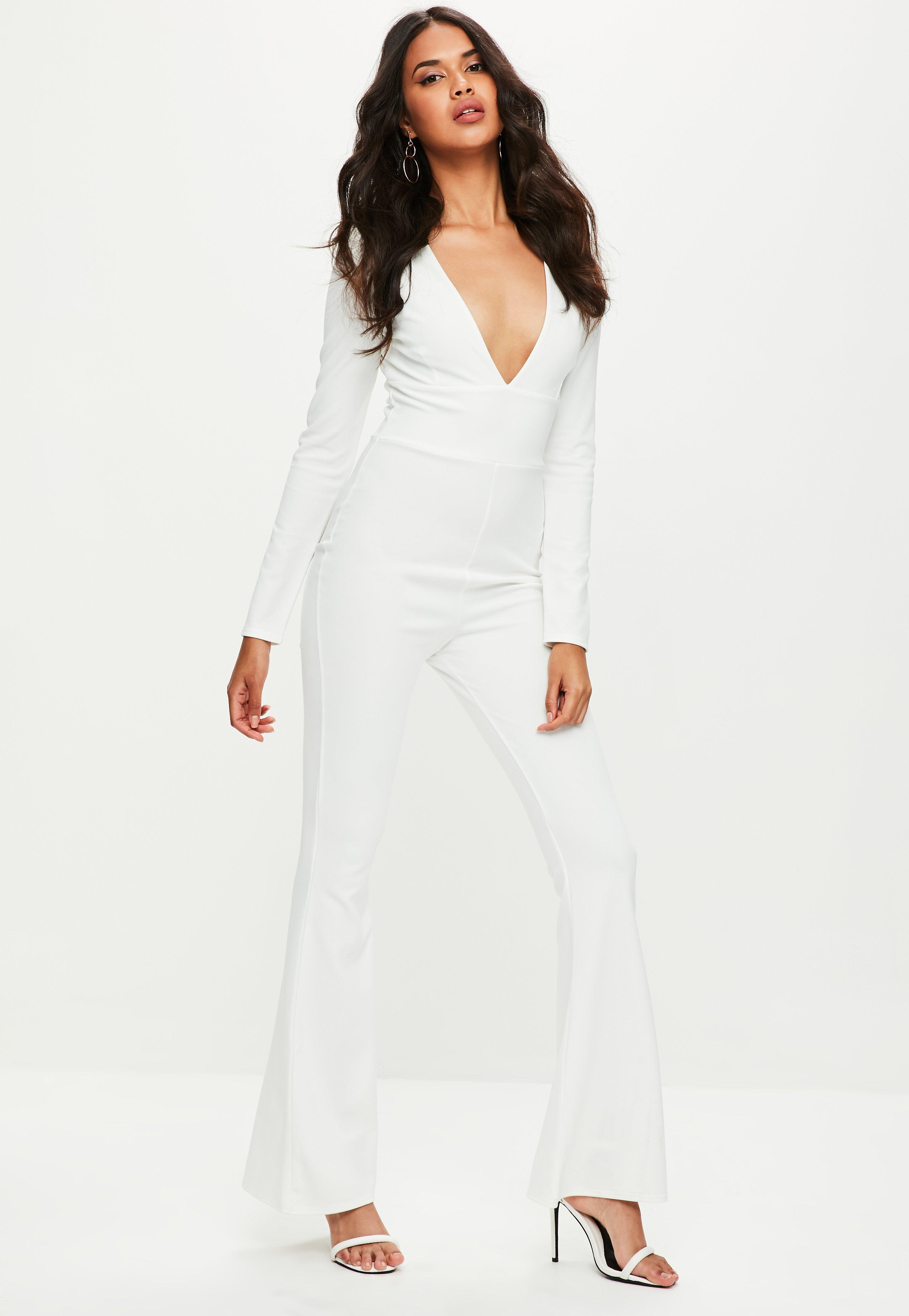 b2566540162c Lyst - Missguided White Plunge Front Flare Jumpsuit in White