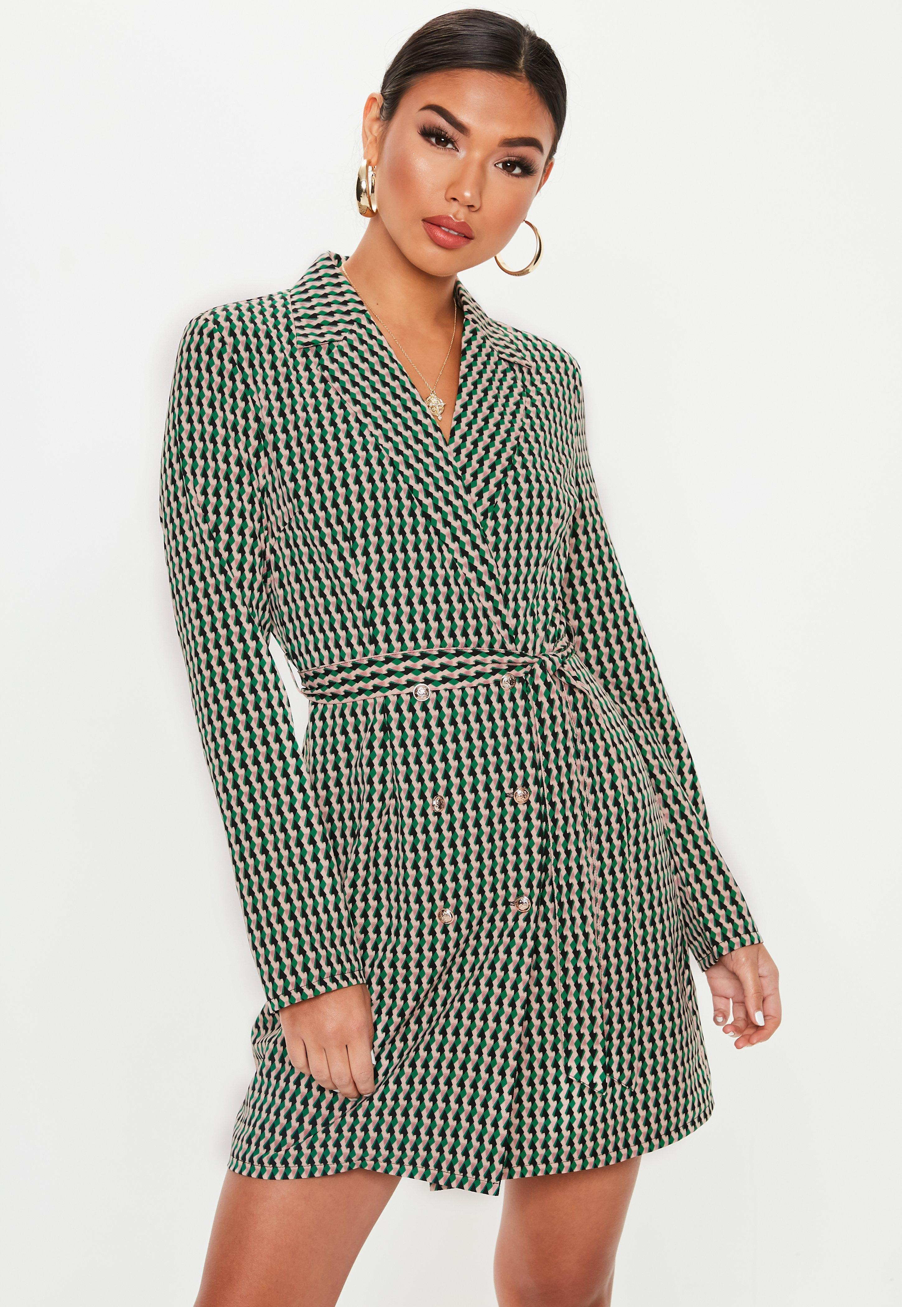 48dcb7b5166 Lyst - Missguided Green Geometric Print Blazer Dress in Green