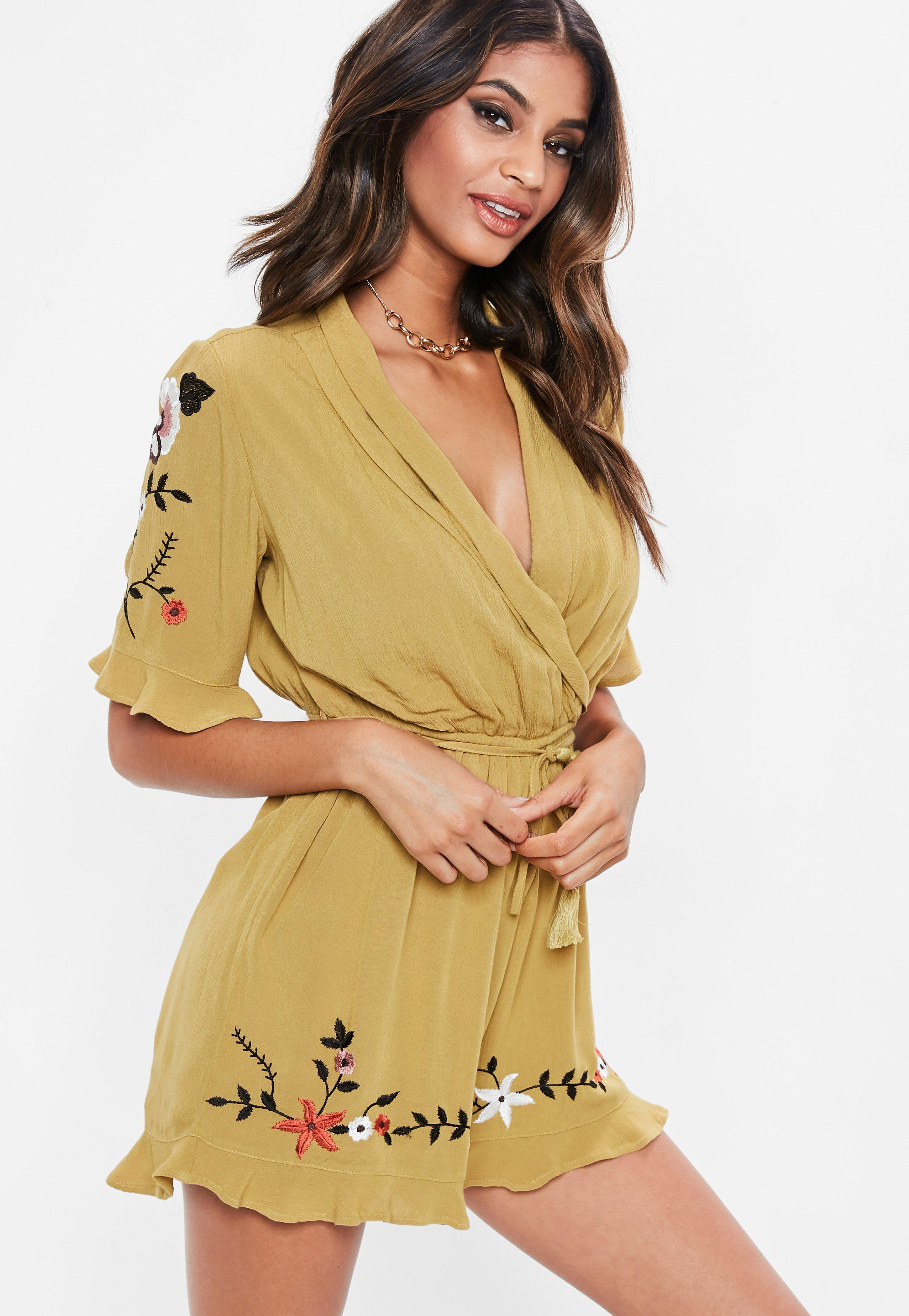 cbc5eadc6e Lyst - Missguided Mustard Cheesecloth Embroidered Romper in Yellow