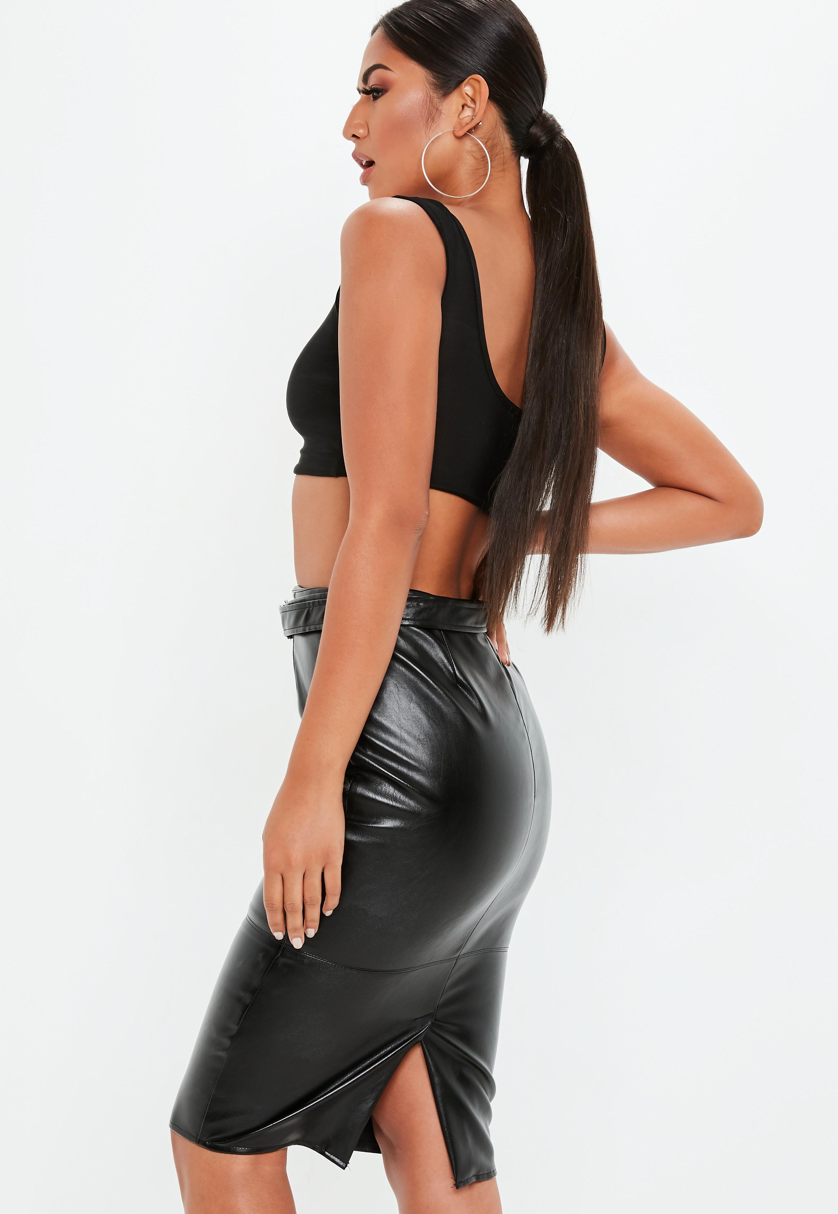 79243a239 Missguided - Tall Black Faux Leather Buckle Detail Midi Skirt - Lyst. View  fullscreen