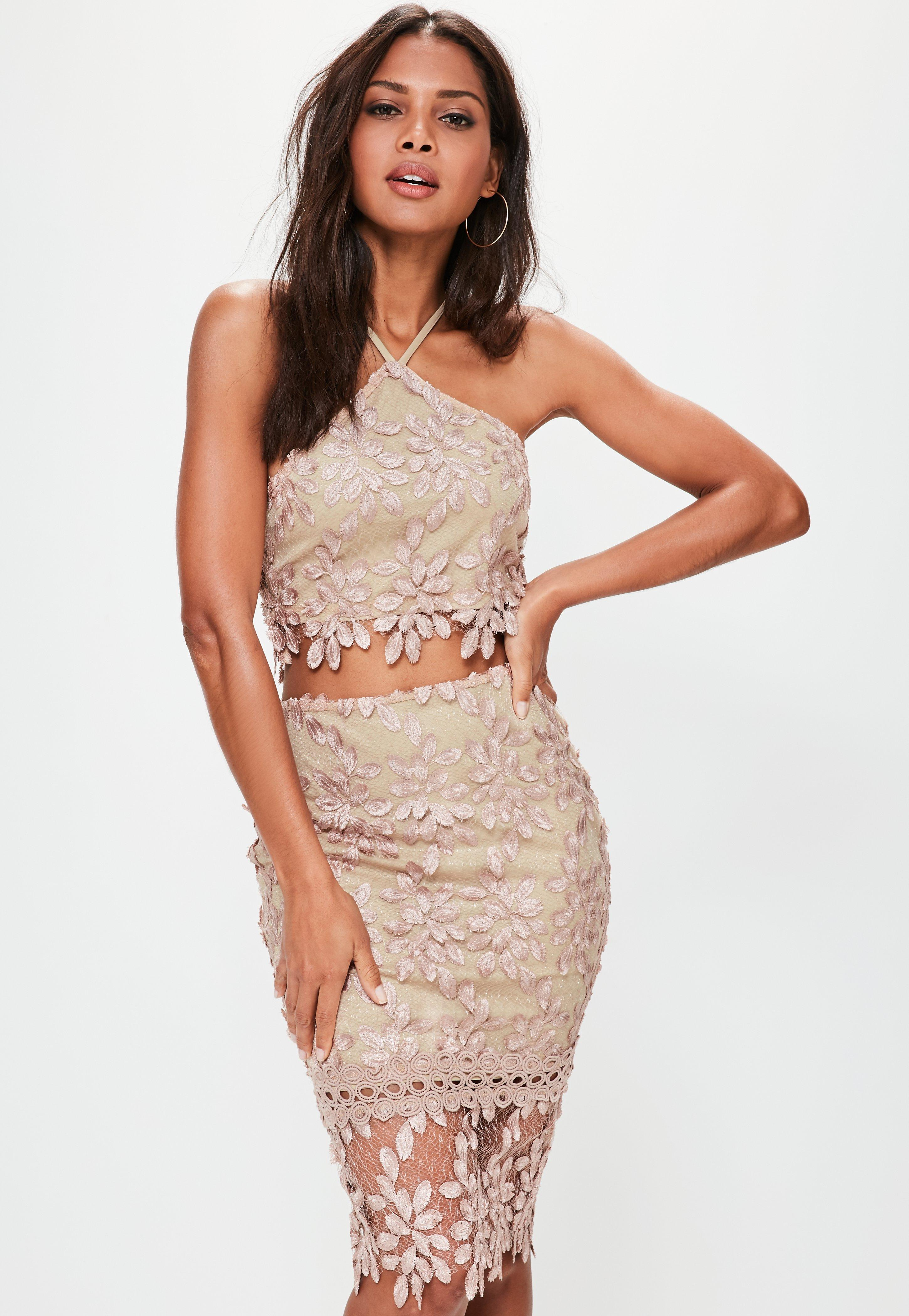 da6d79130 Missguided Premium Nude Floral Lace Midi Skirt in Natural - Lyst