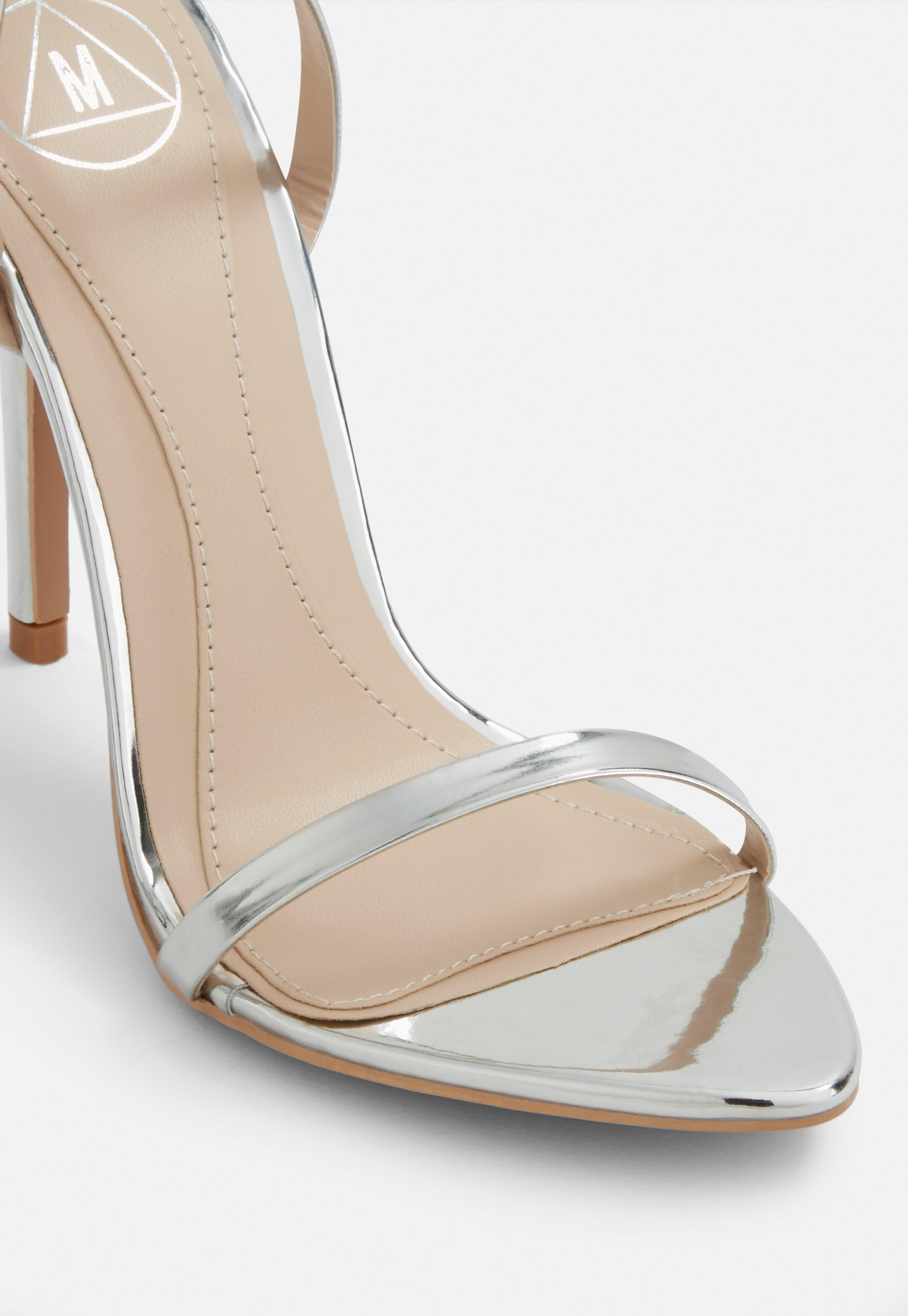 180abea60df Lyst - Missguided Silver Pointed Toe Barely There Heels in Metallic