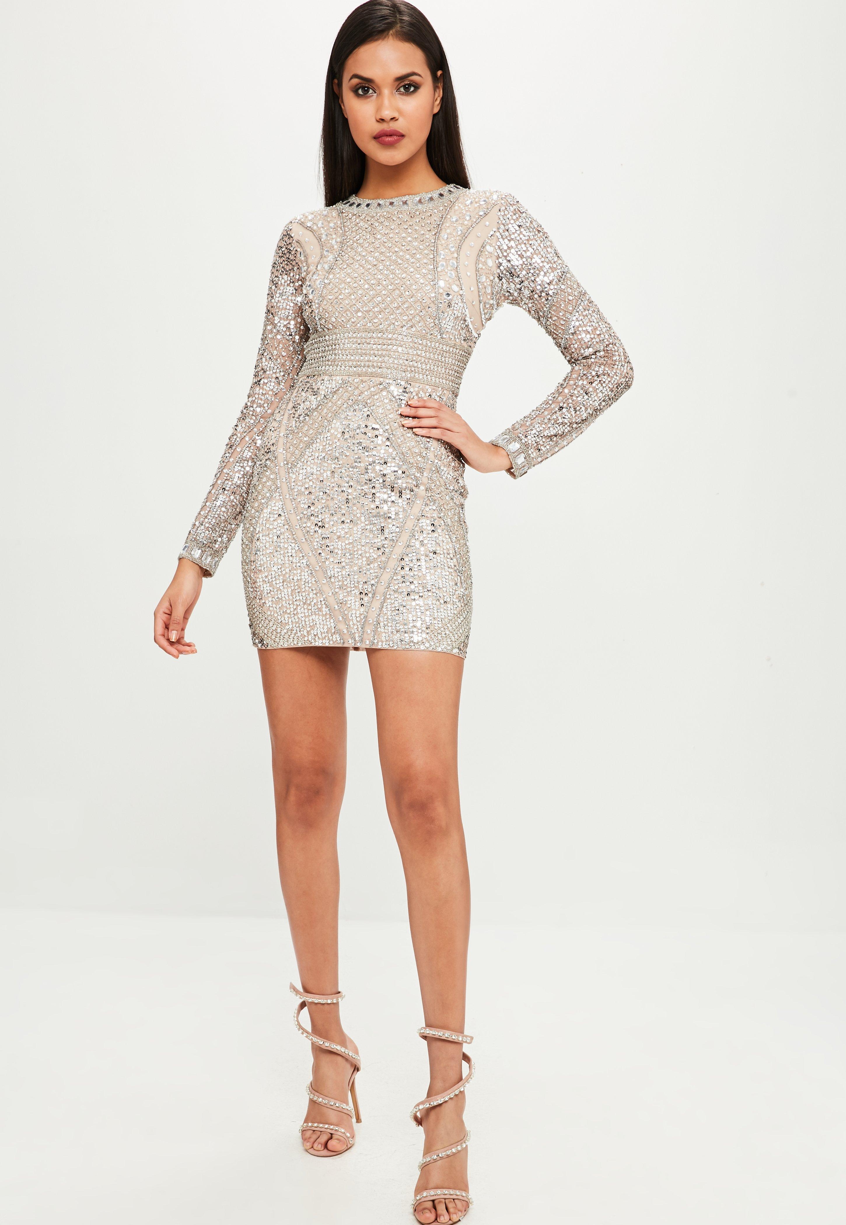 86aa109fe9 Missguided Carli Bybel X Nude Embellished Mini Dress in Natural - Lyst
