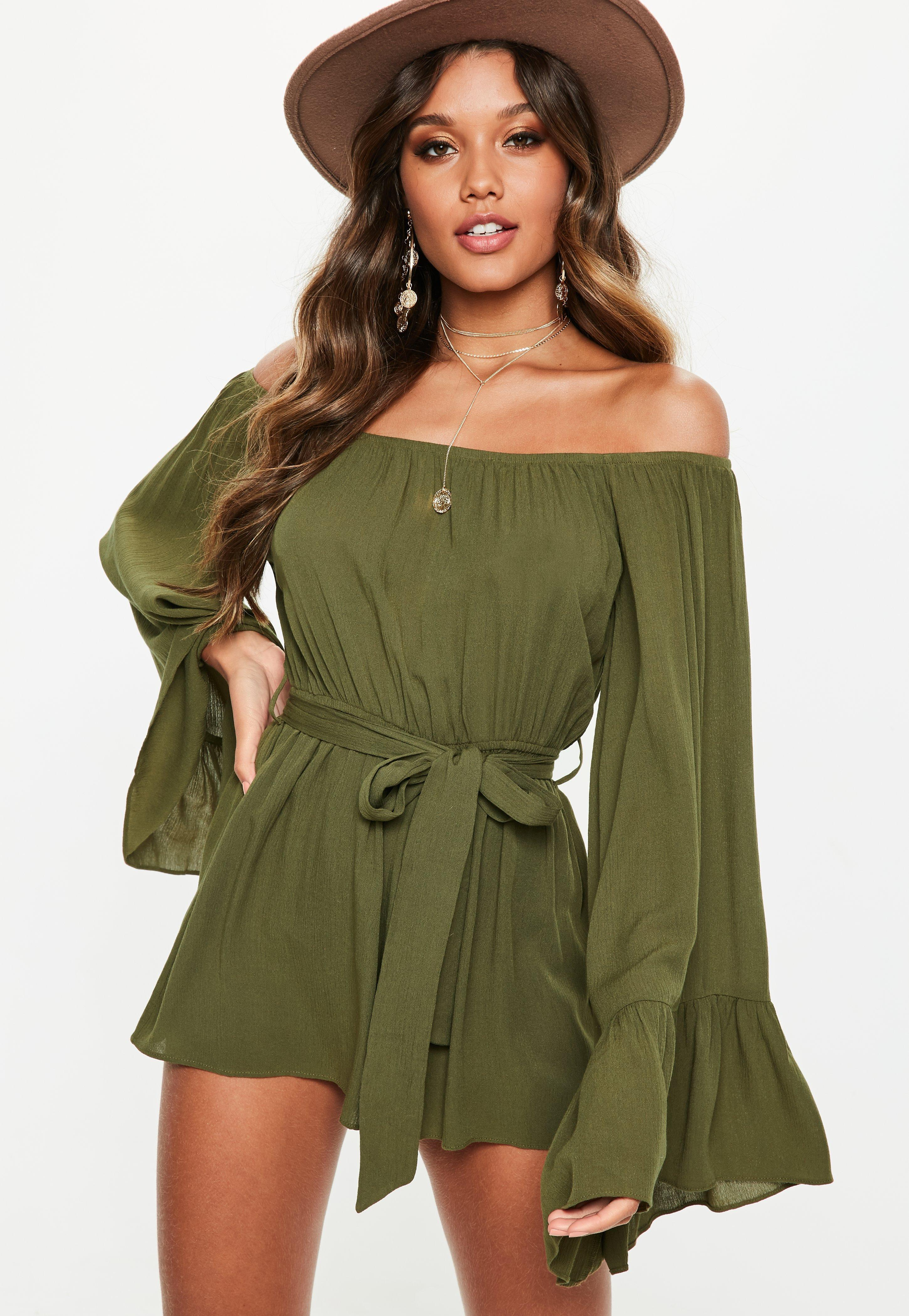 7f12b4e17e8 Missguided - Green Khaki Flare Sleeve Bardot Playsuit - Lyst. View  fullscreen