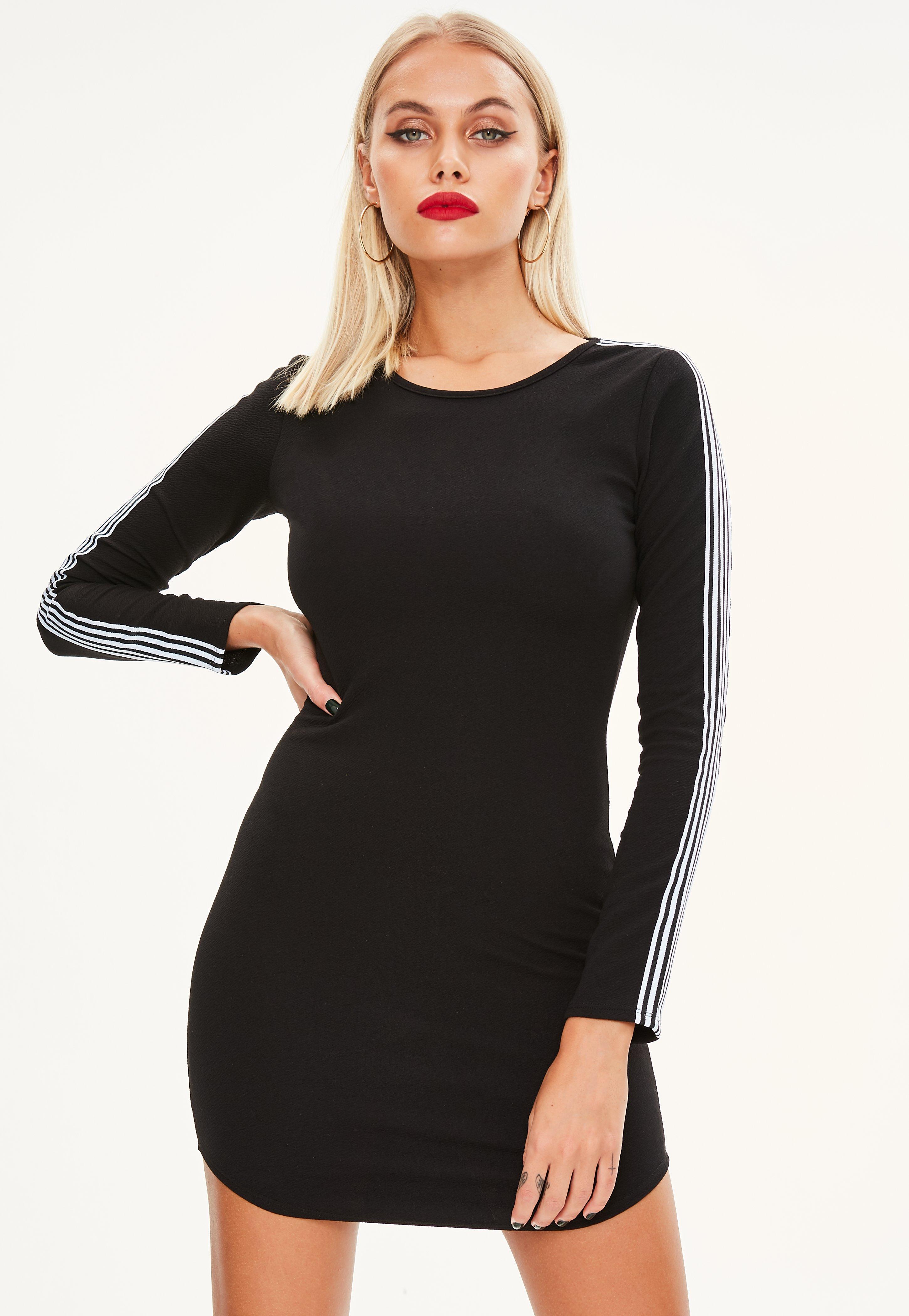 0e991c9a39 Lyst - Missguided Sports Stripe Curve Hem Bodycon Dress in Black