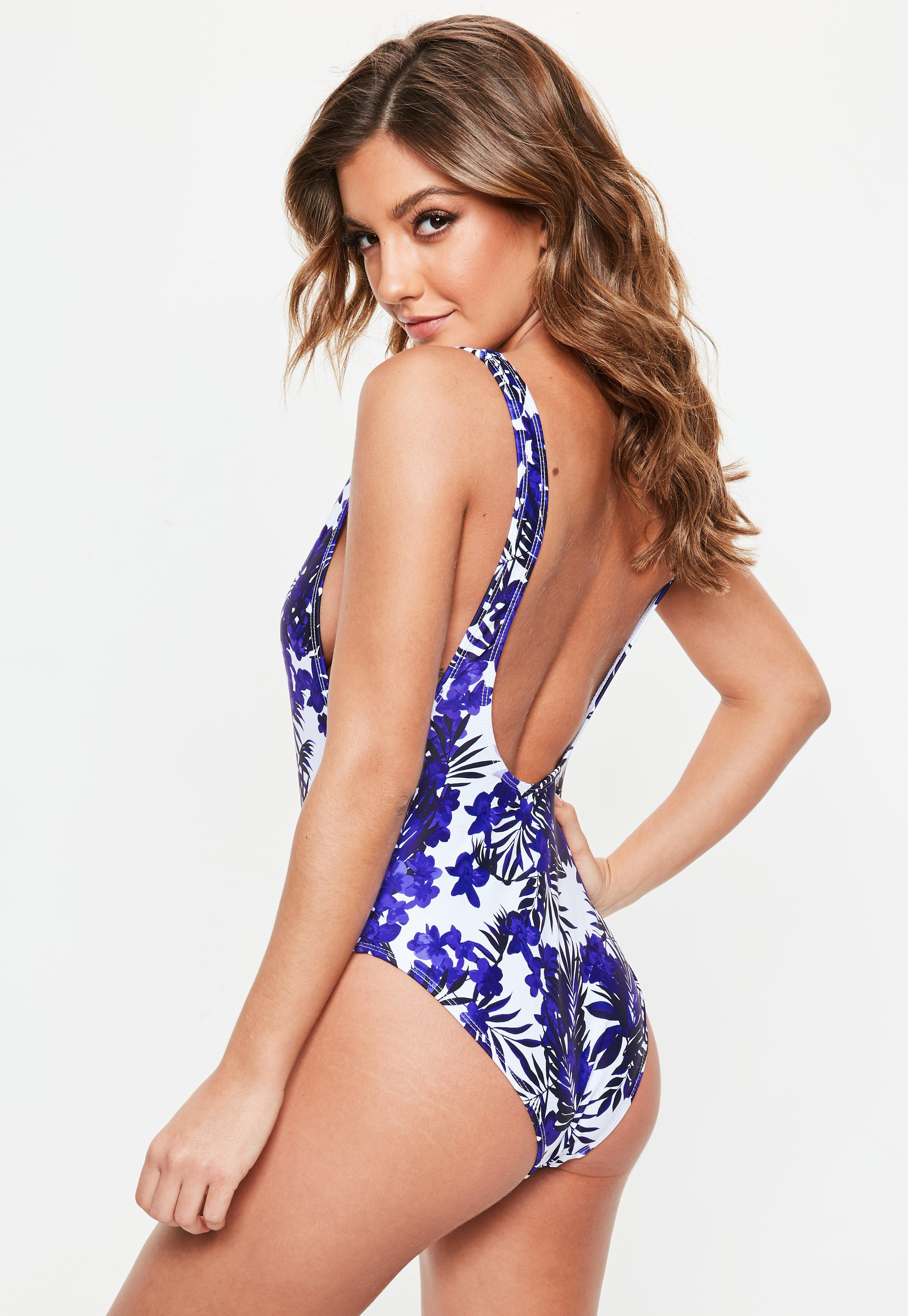 22d064089c Lyst - Missguided Blue Floral High Leg Low Side Swimsuit in Blue