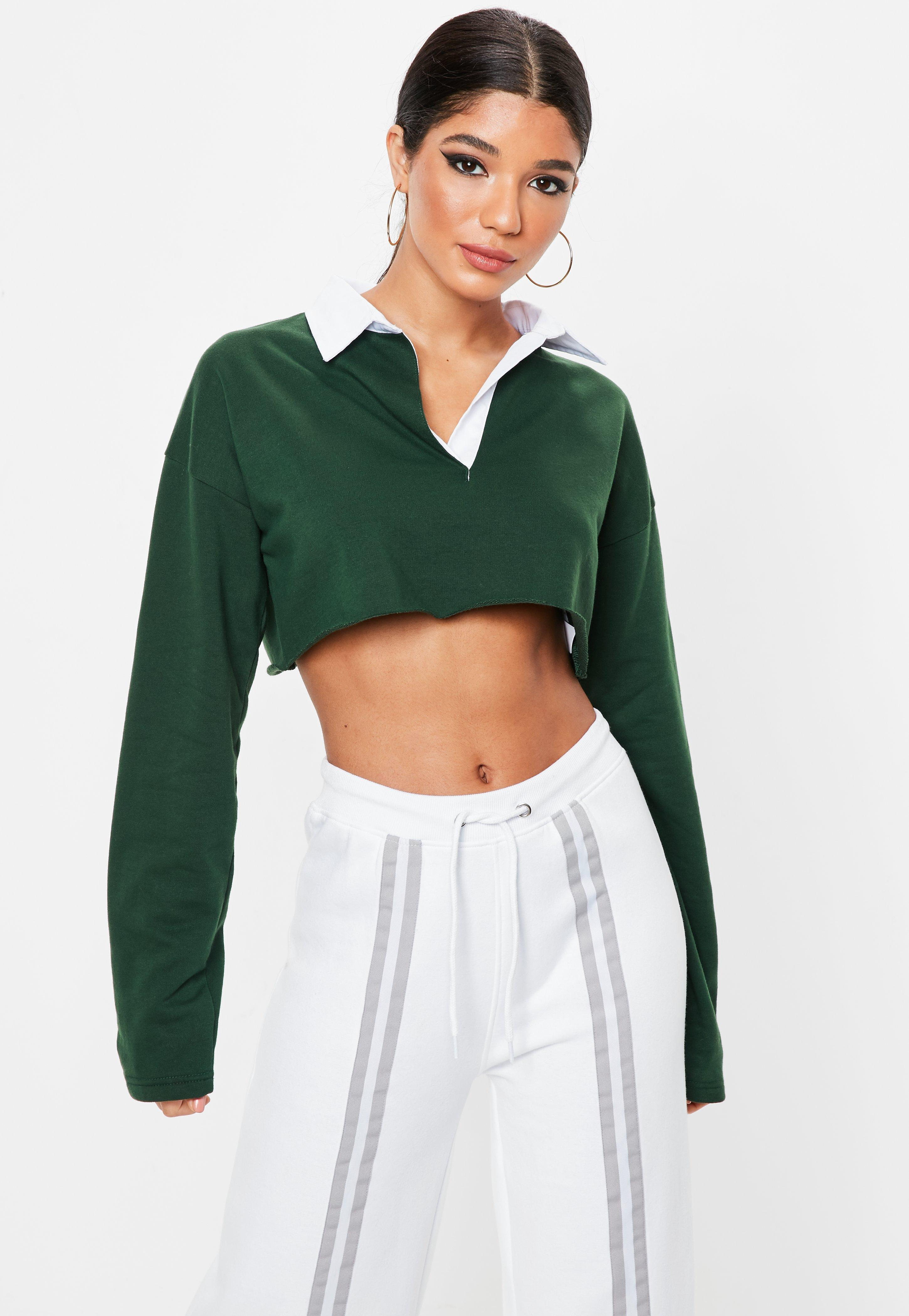 707455975d93f Lyst - Missguided Green Boxy Rugby Crop Top in Green