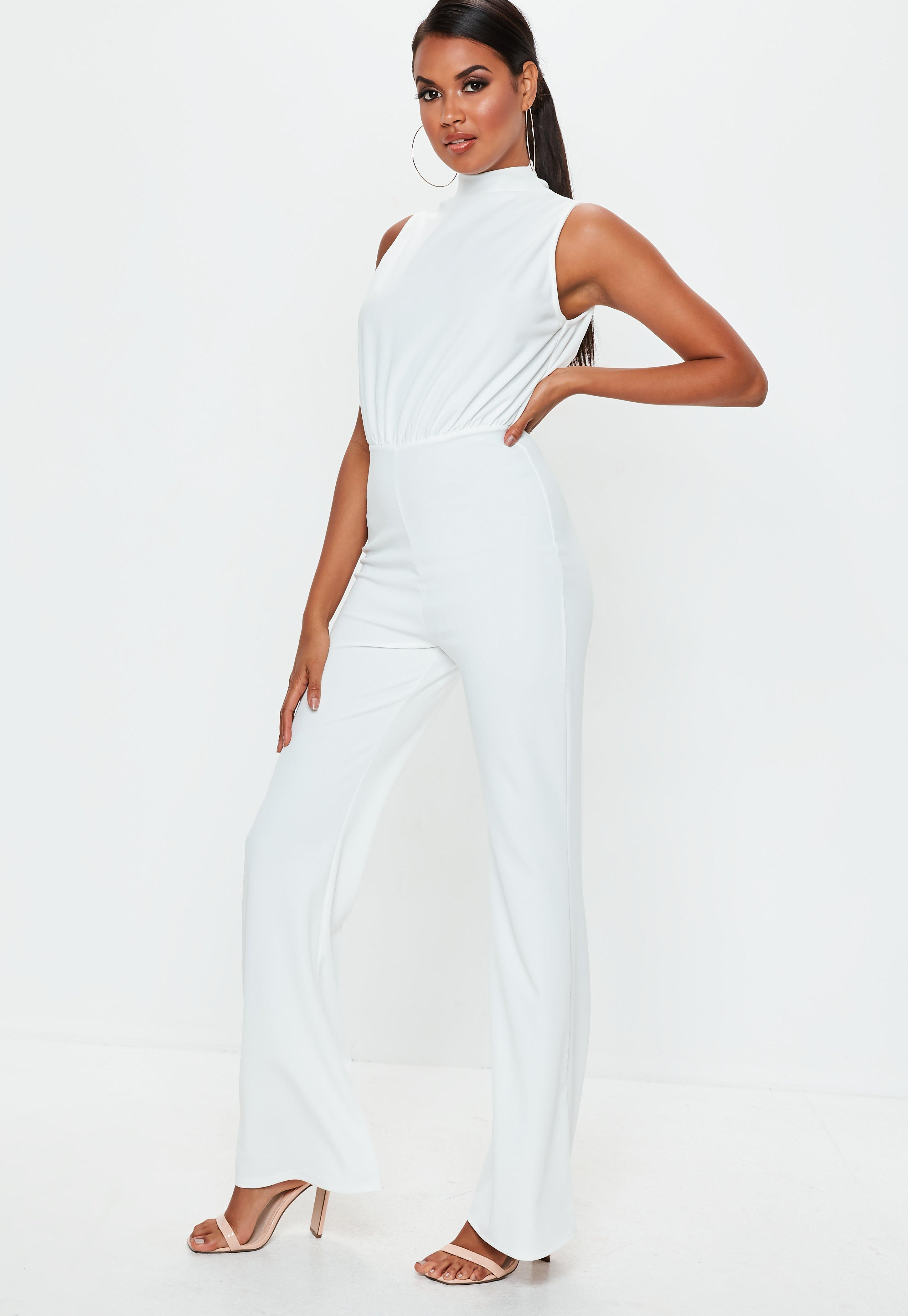 2f36902acf1c Missguided - White High Neck Wide Leg Jumpsuit - Lyst. View fullscreen