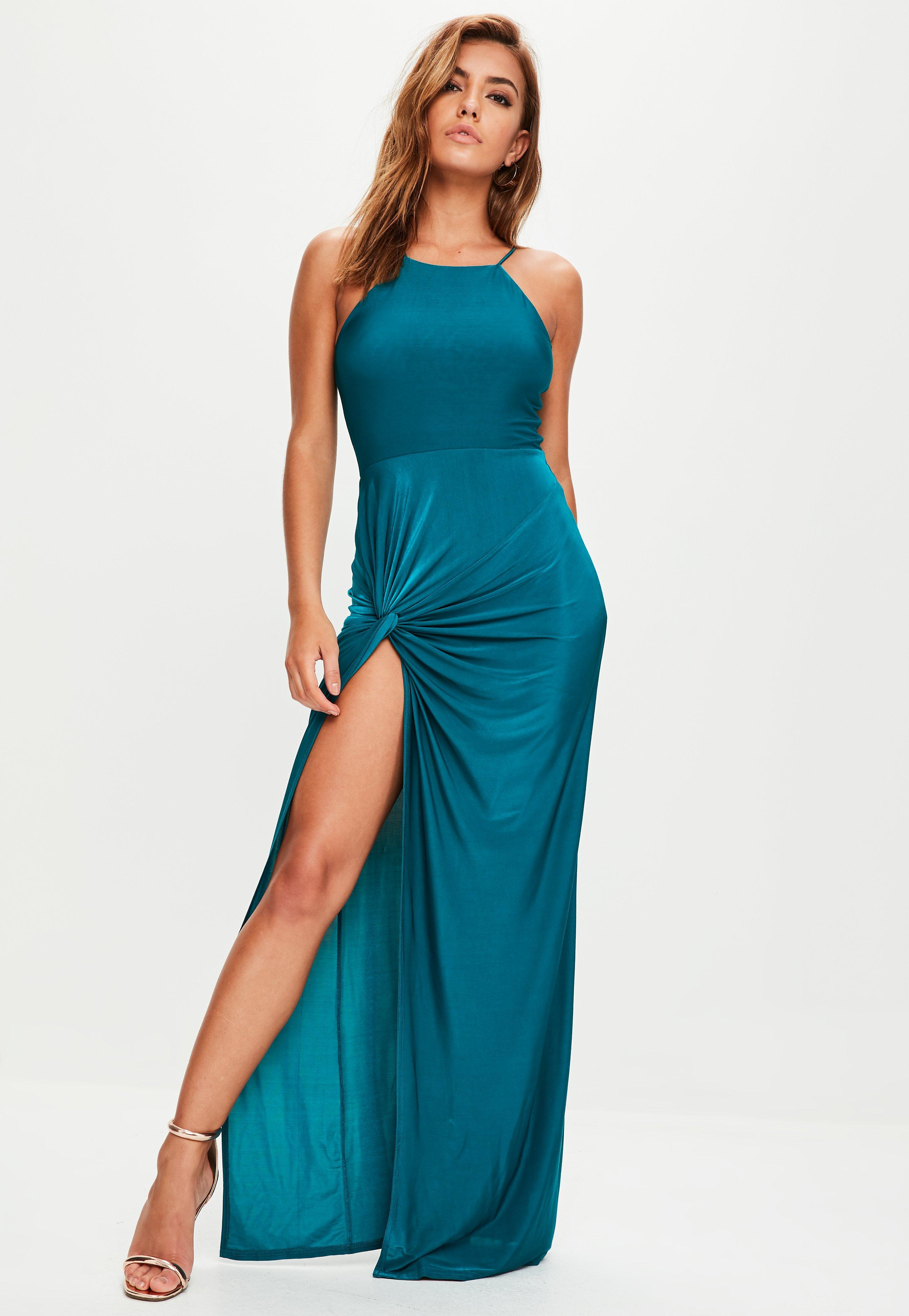 Lyst - Missguided Teal Blue Slinky Maxi Dress in Blue