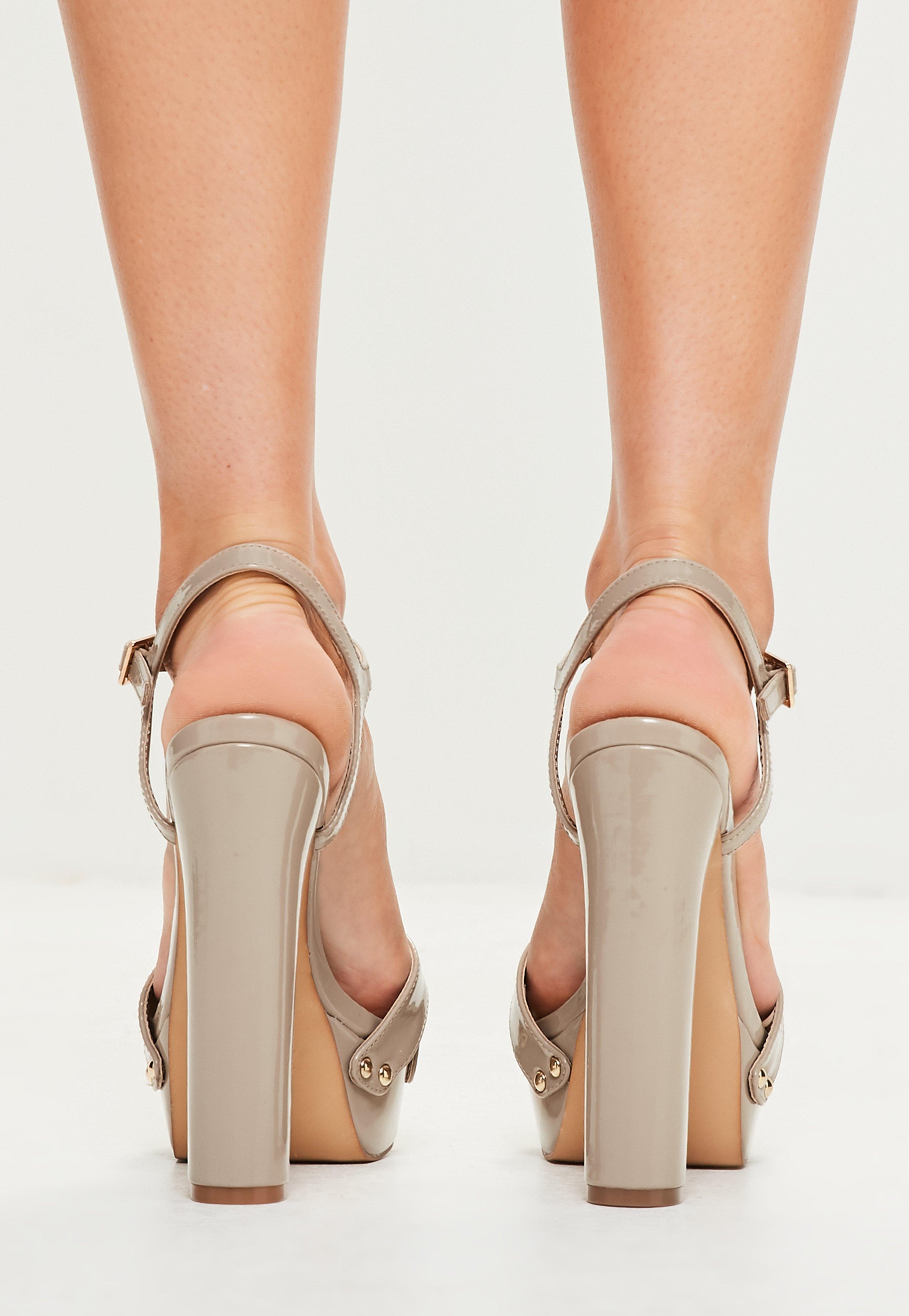 17ebd729722 Lyst - Missguided Nude Vinyl Studded Platform Sandals in Natural