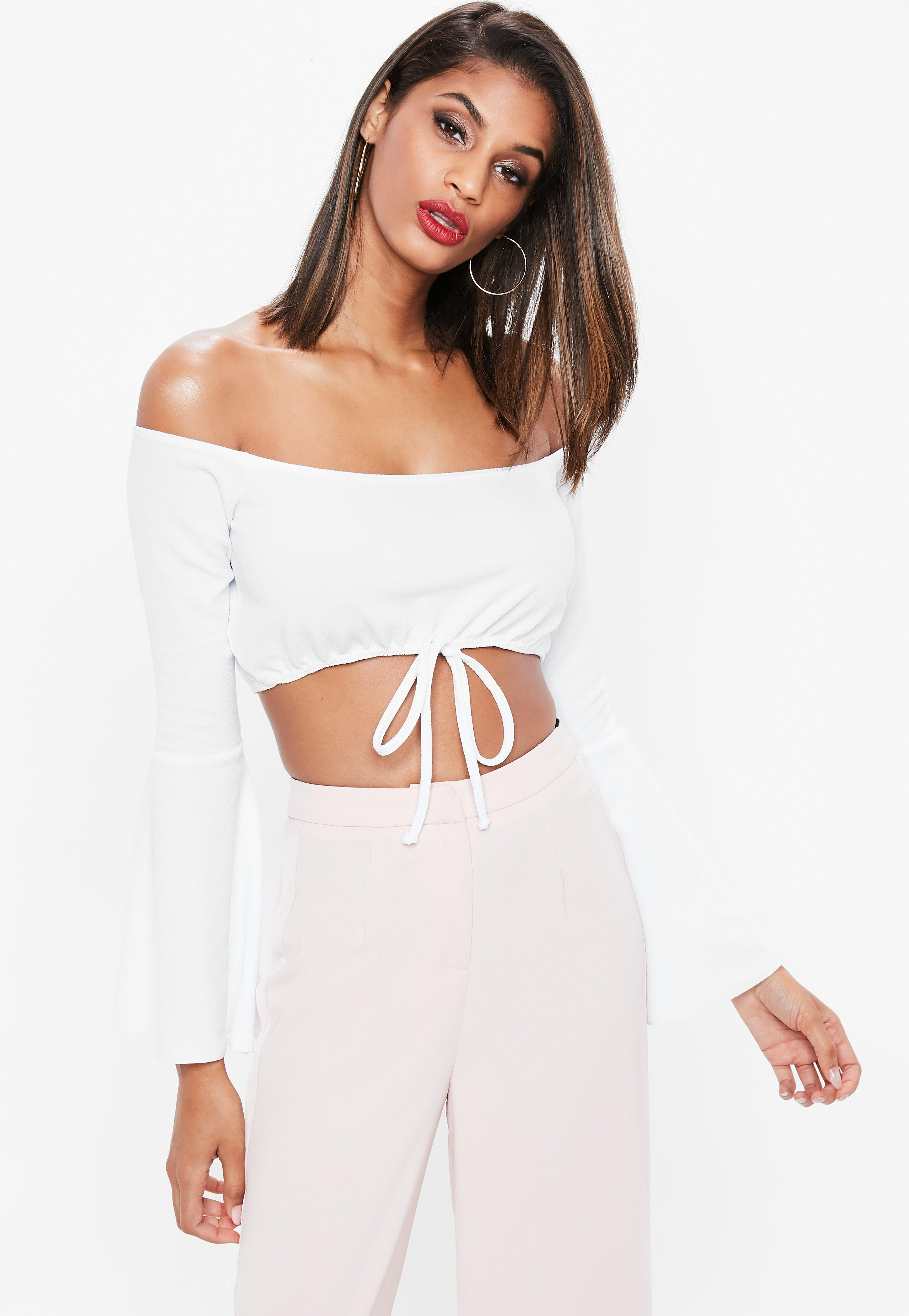 fdac1c2349a778 Lyst - Missguided White Tie Waist Flared Sleeve Bardot Crop Top in White