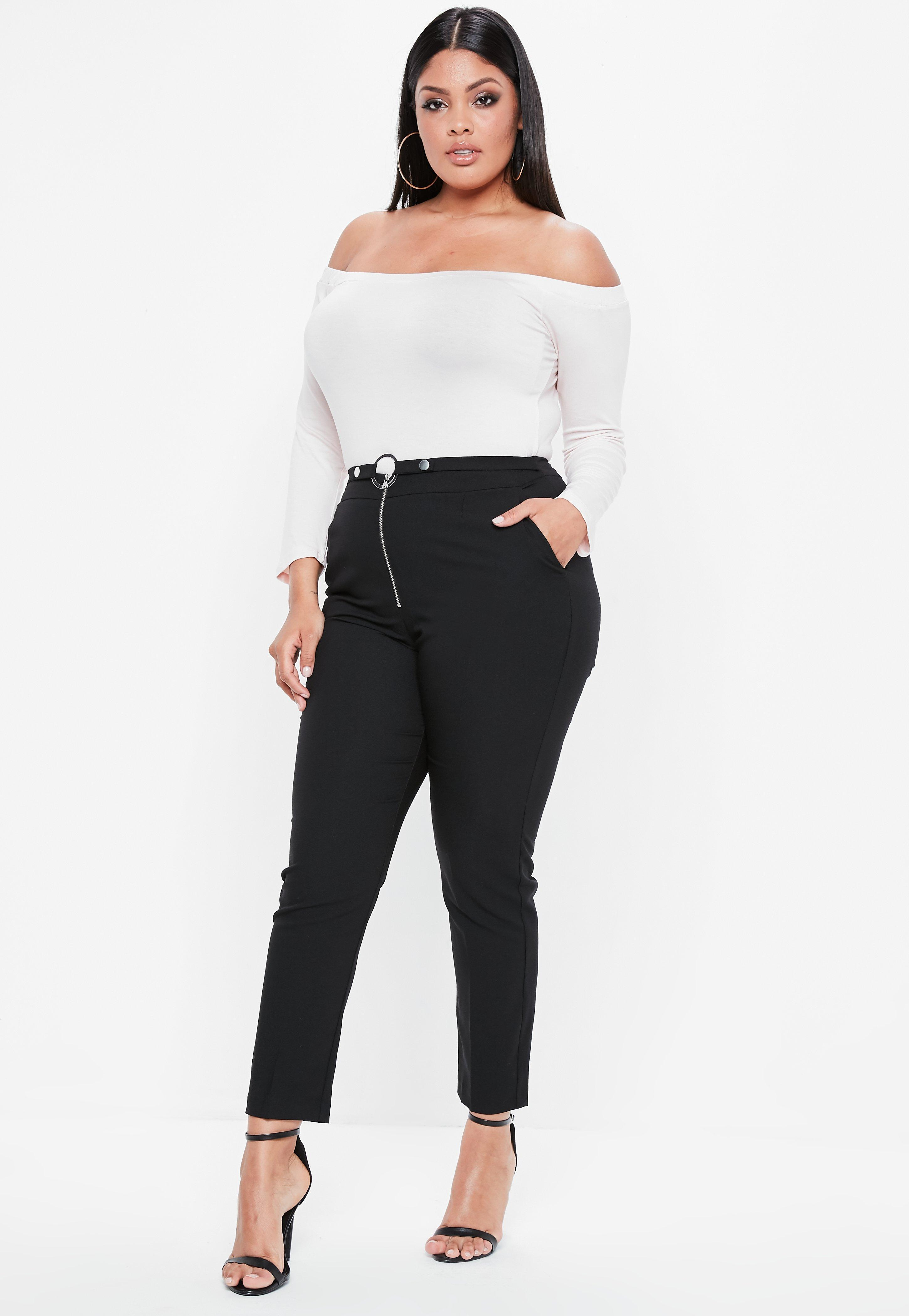 963177181125f Lyst - Missguided Plus Size Black Zip Front Circle Ring Cigarette ...