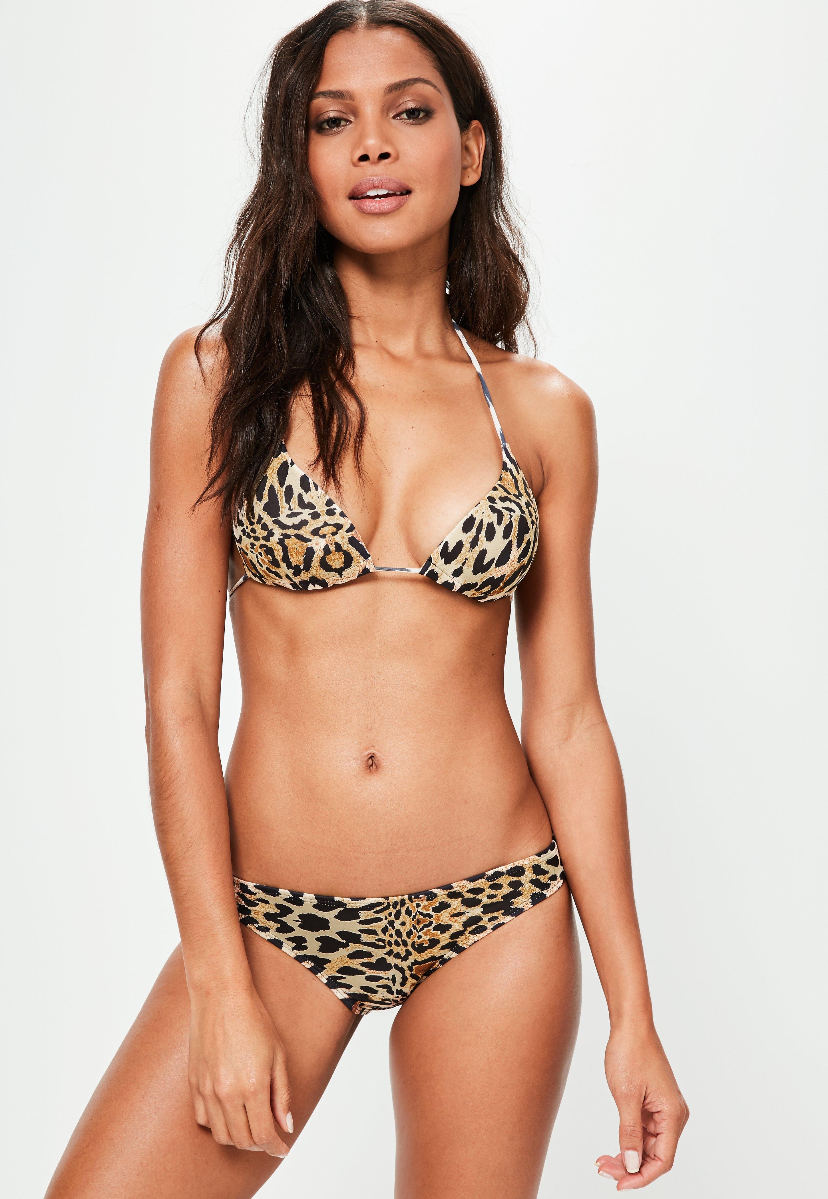 780bf5ddaf Lyst - Missguided Brown Leopard Print Triangle Bikini Top ...
