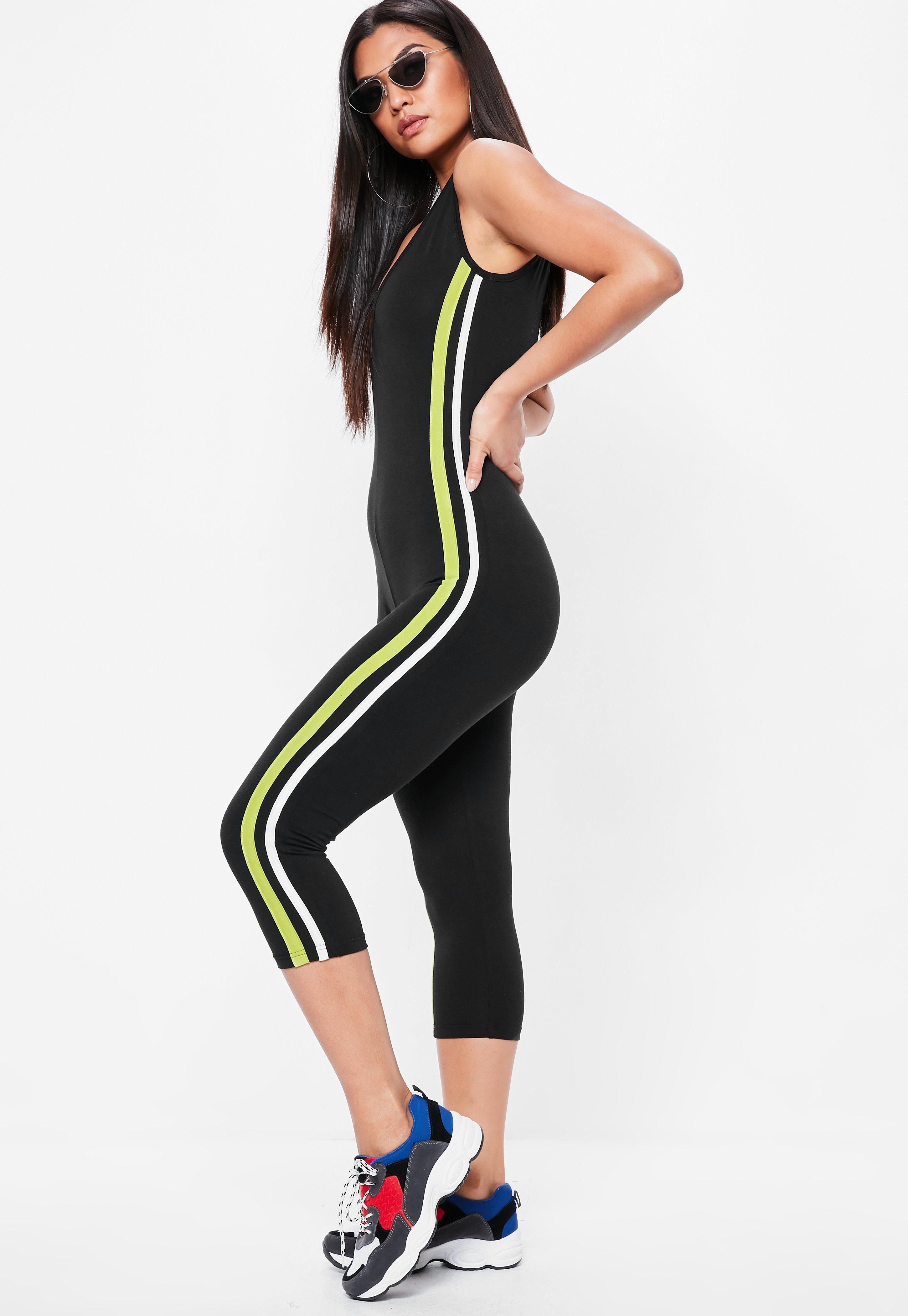 14de0af27638 Lyst - Missguided Black Side Stripe Jersey Unitard Jumpsuit in Black