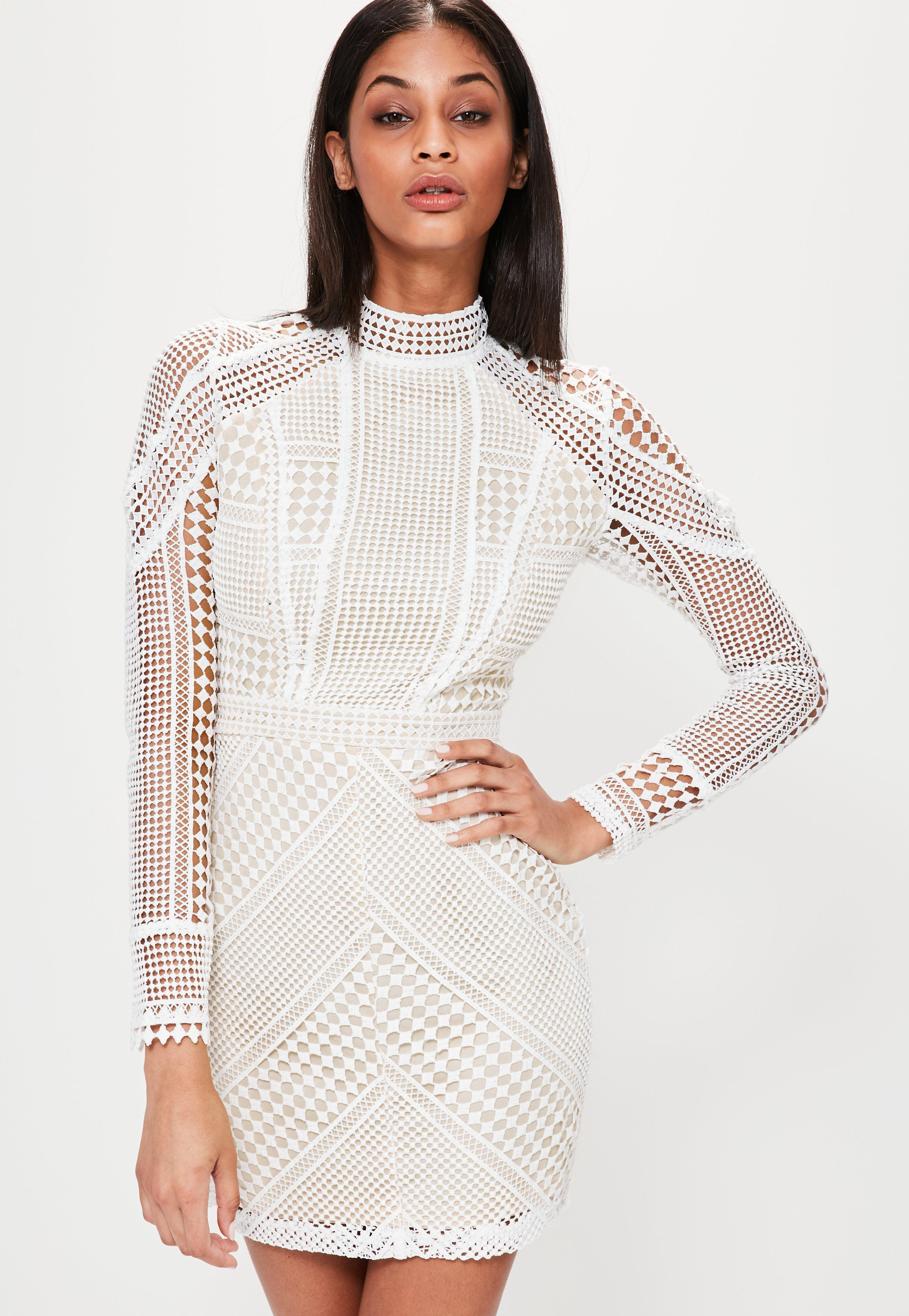 bed23a6ae2b5 Missguided Premium Structured High Neck Lace Mini Dress White in ...