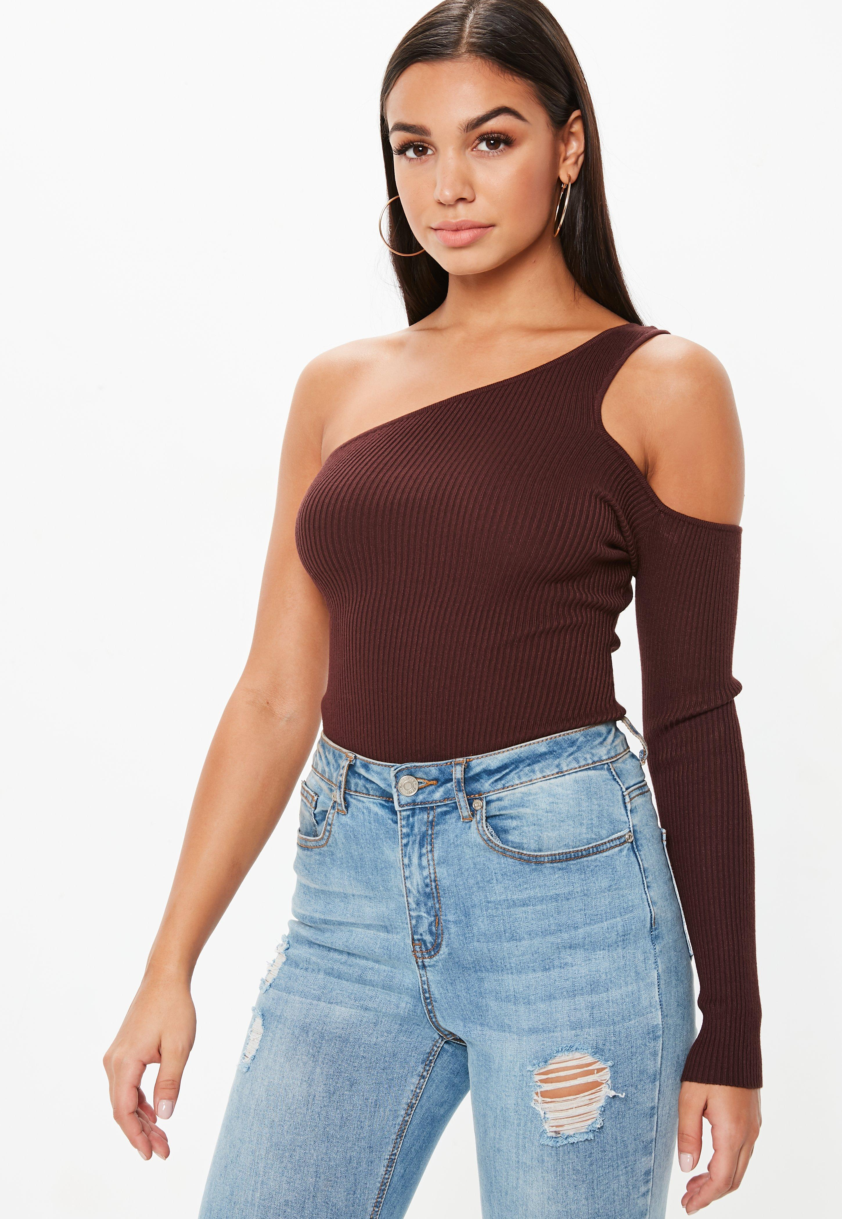 e65a029c79 Lyst - Missguided Chocolate Cut Out One Shoulder Knitted Bodysuit in ...