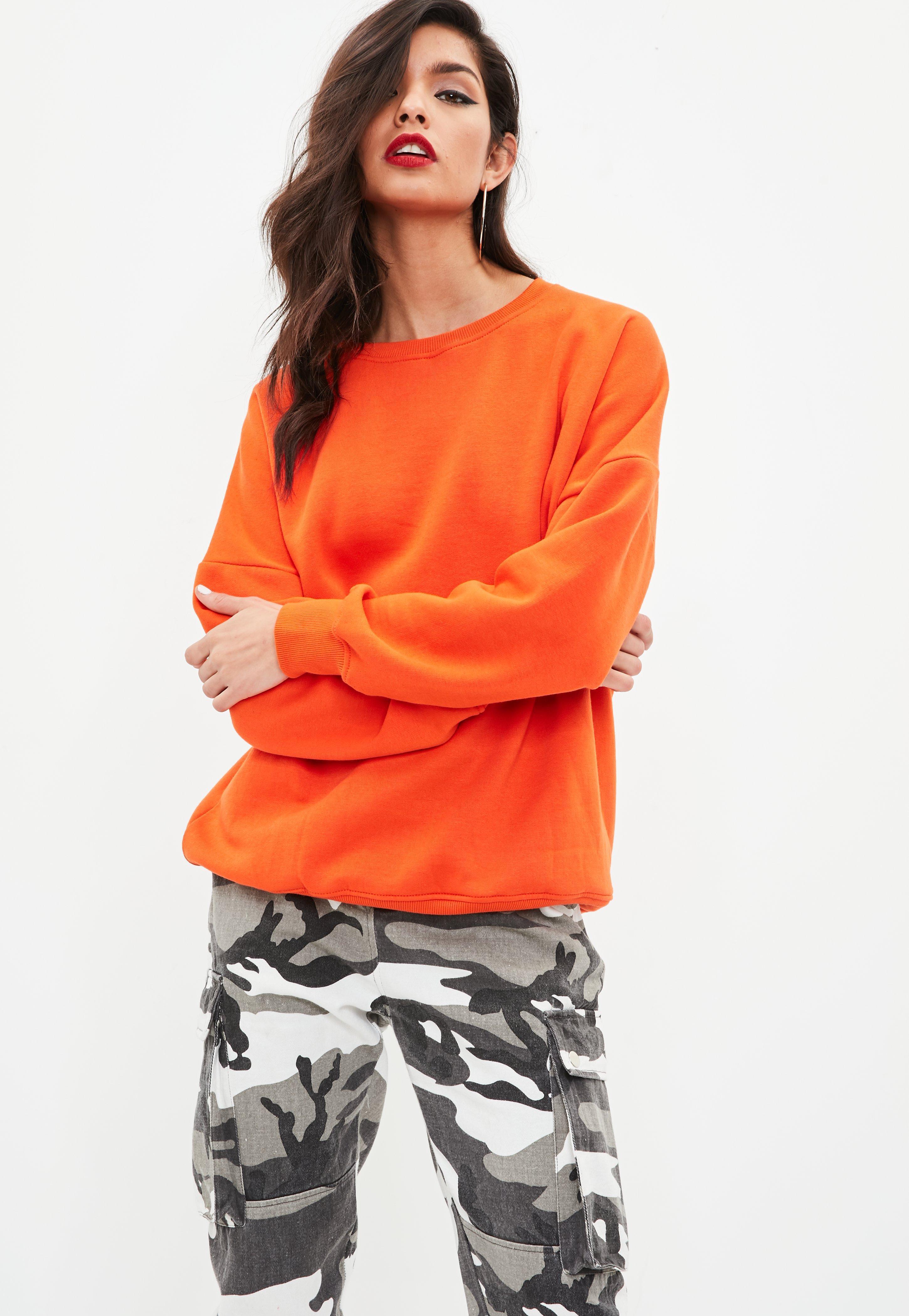 07f12cb3 Missguided Orange Crew Neck Sweatshirt in Orange - Lyst