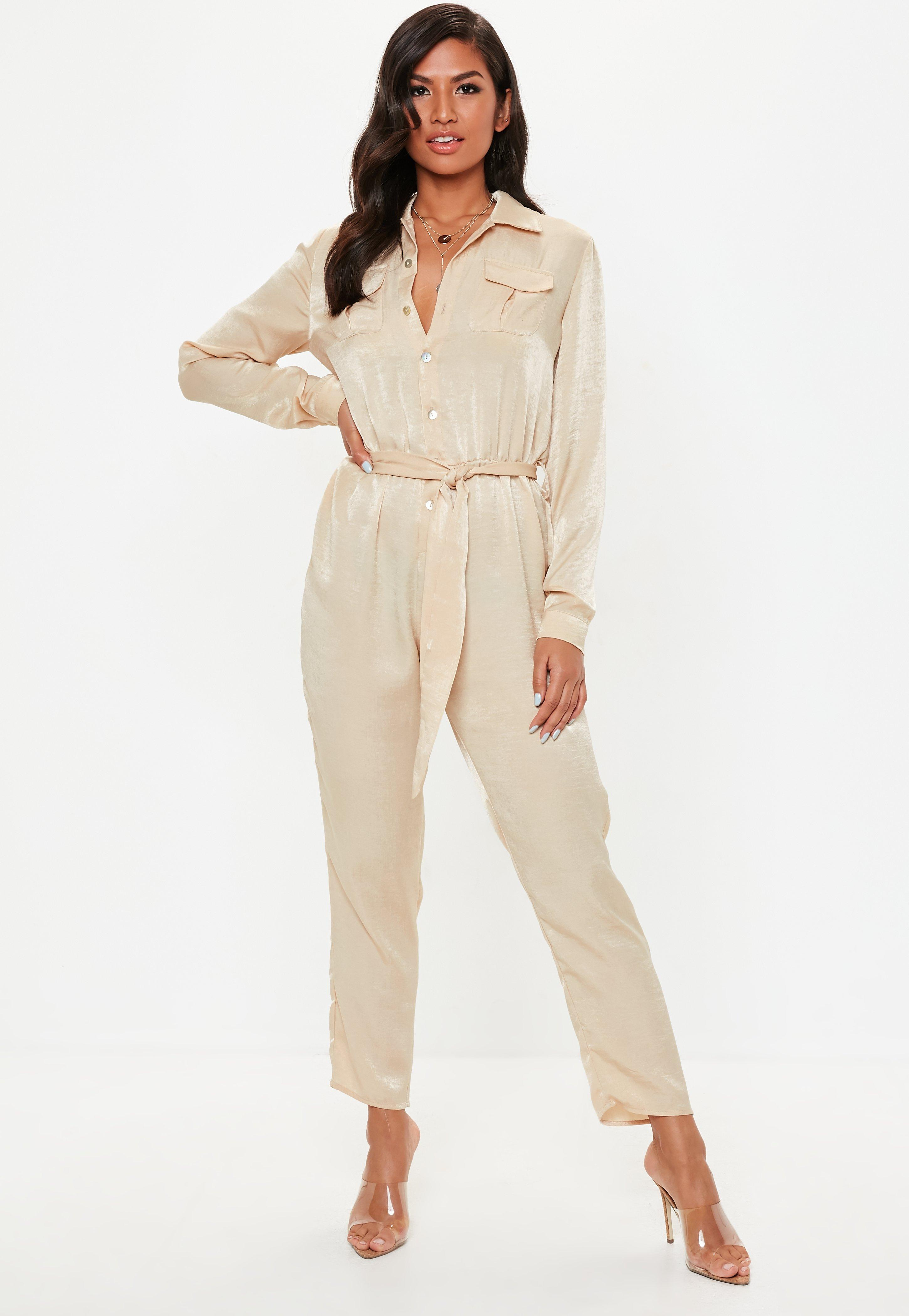78ea87dc144 Missguided Nude Peached Satin Utility Jumpsuit in Natural - Lyst