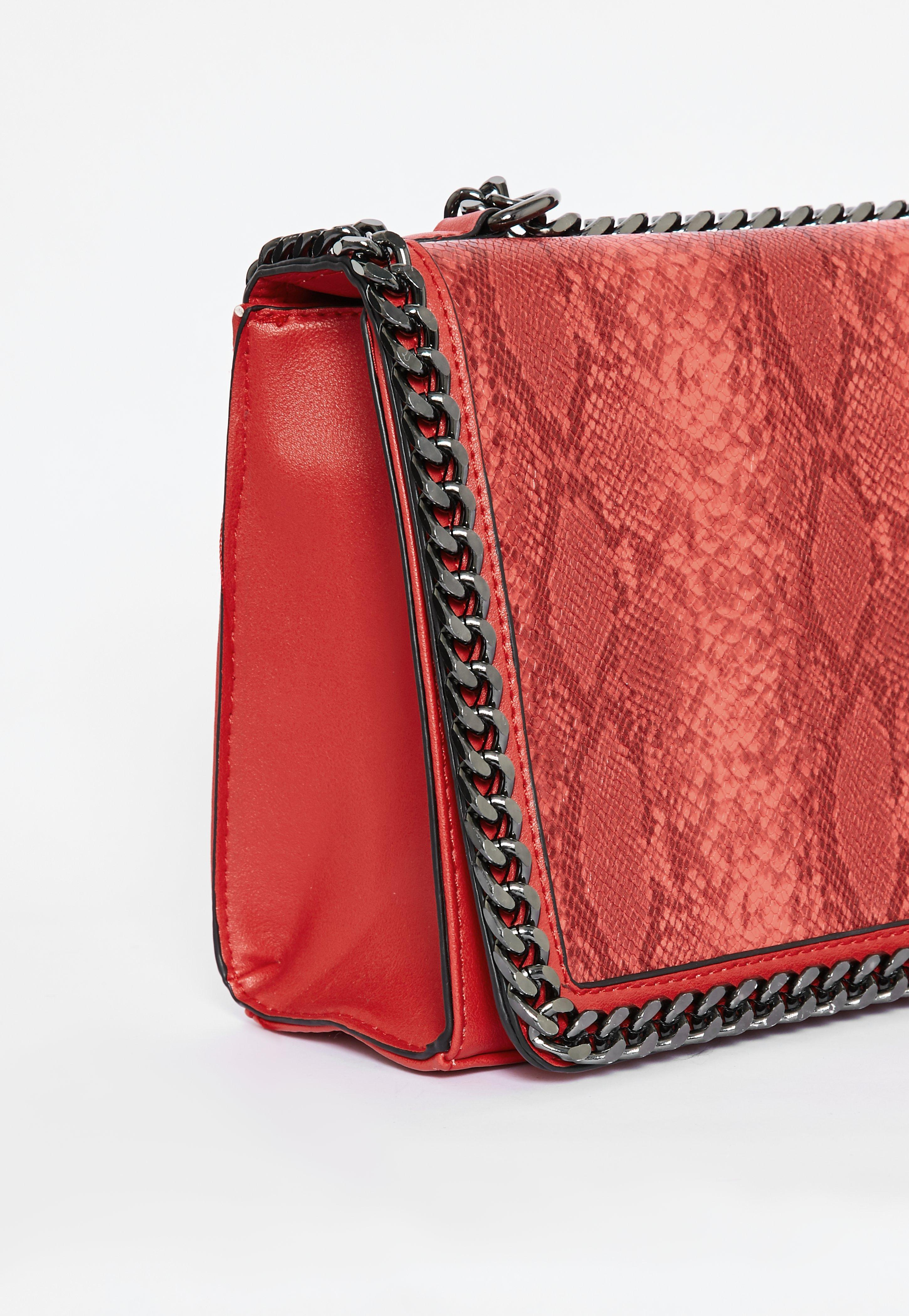 Lyst - Missguided Red Double Chain Croc Print Bag in Red 85ade8c7d24df