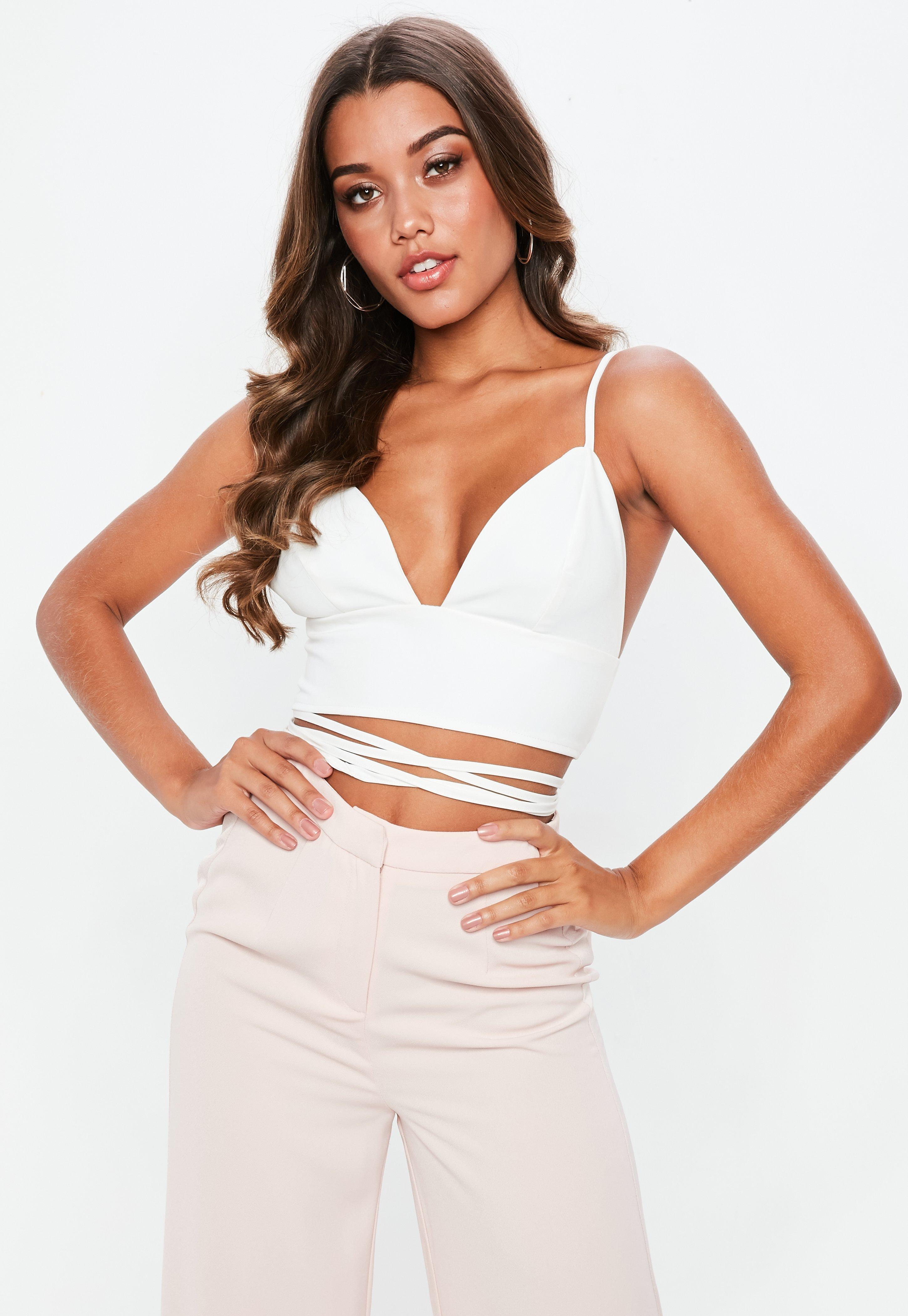 d7d6237ff1 Lyst - Missguided Tall White Woven Wrap Around Crop Top in White