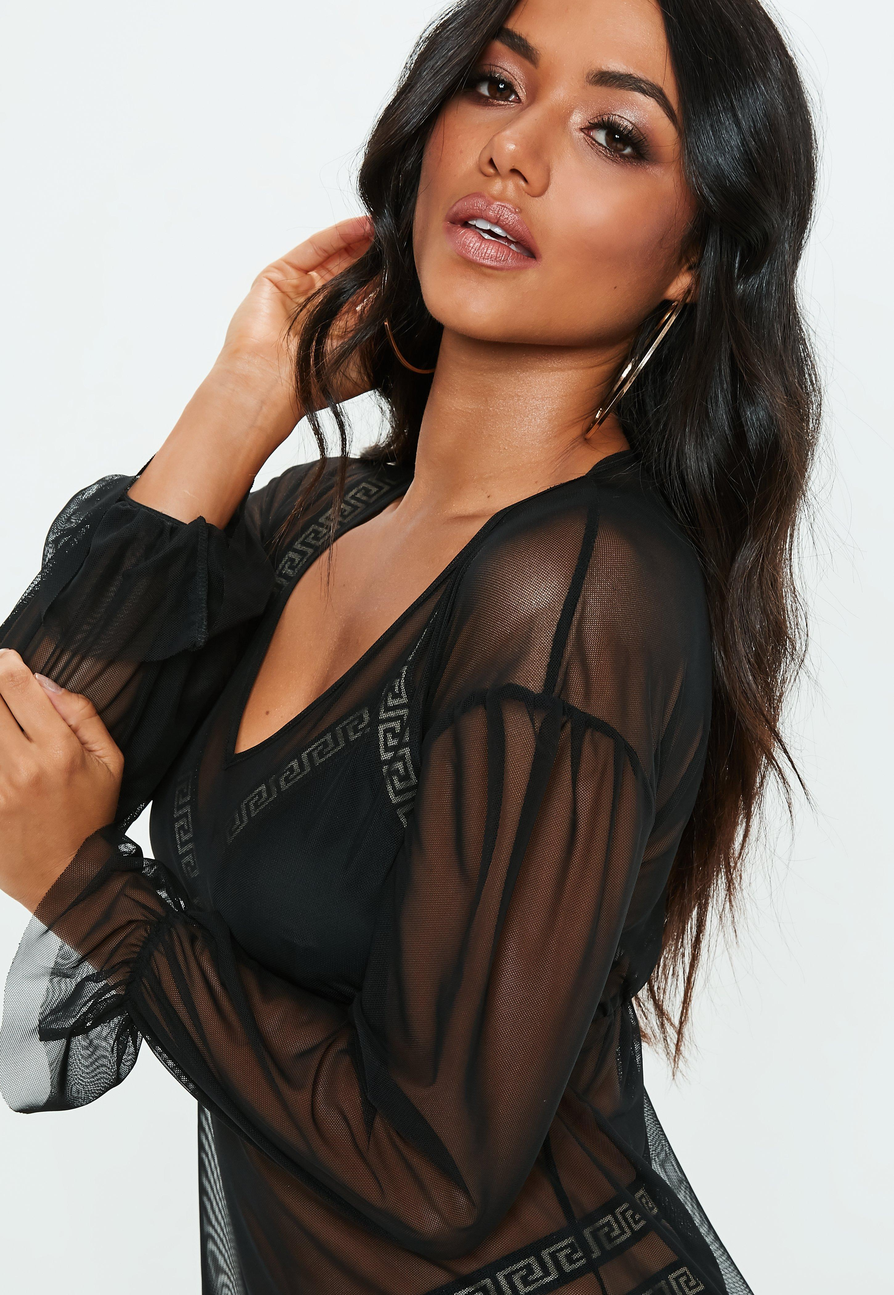 ba8be774b9ba8 Lyst - Missguided Black V Neck Flare Sleeve Cover Up in Black