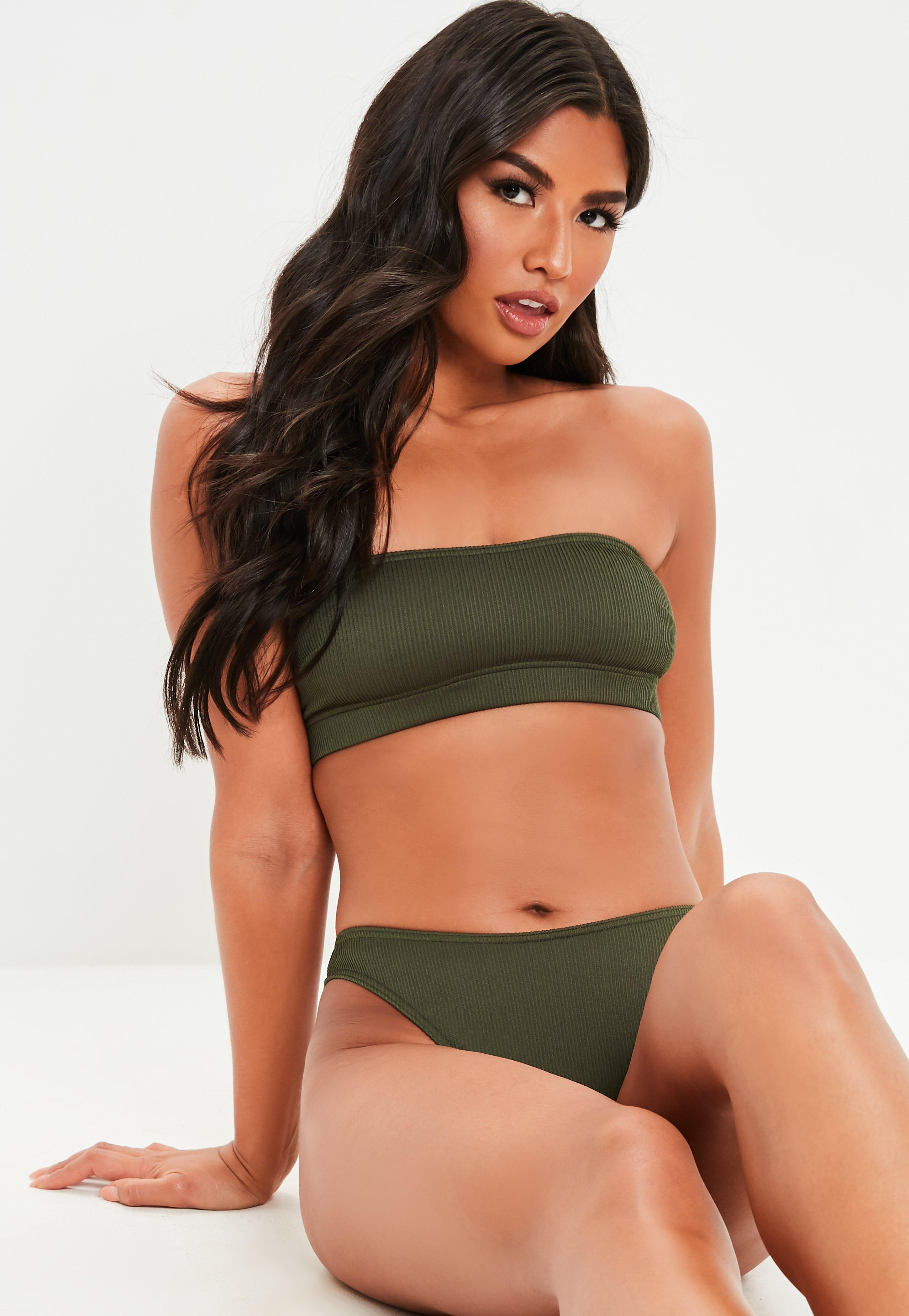 1cb9df7888 Lyst - Missguided Khaki Mix And Match Rib Bandeau Bikini Top in Natural