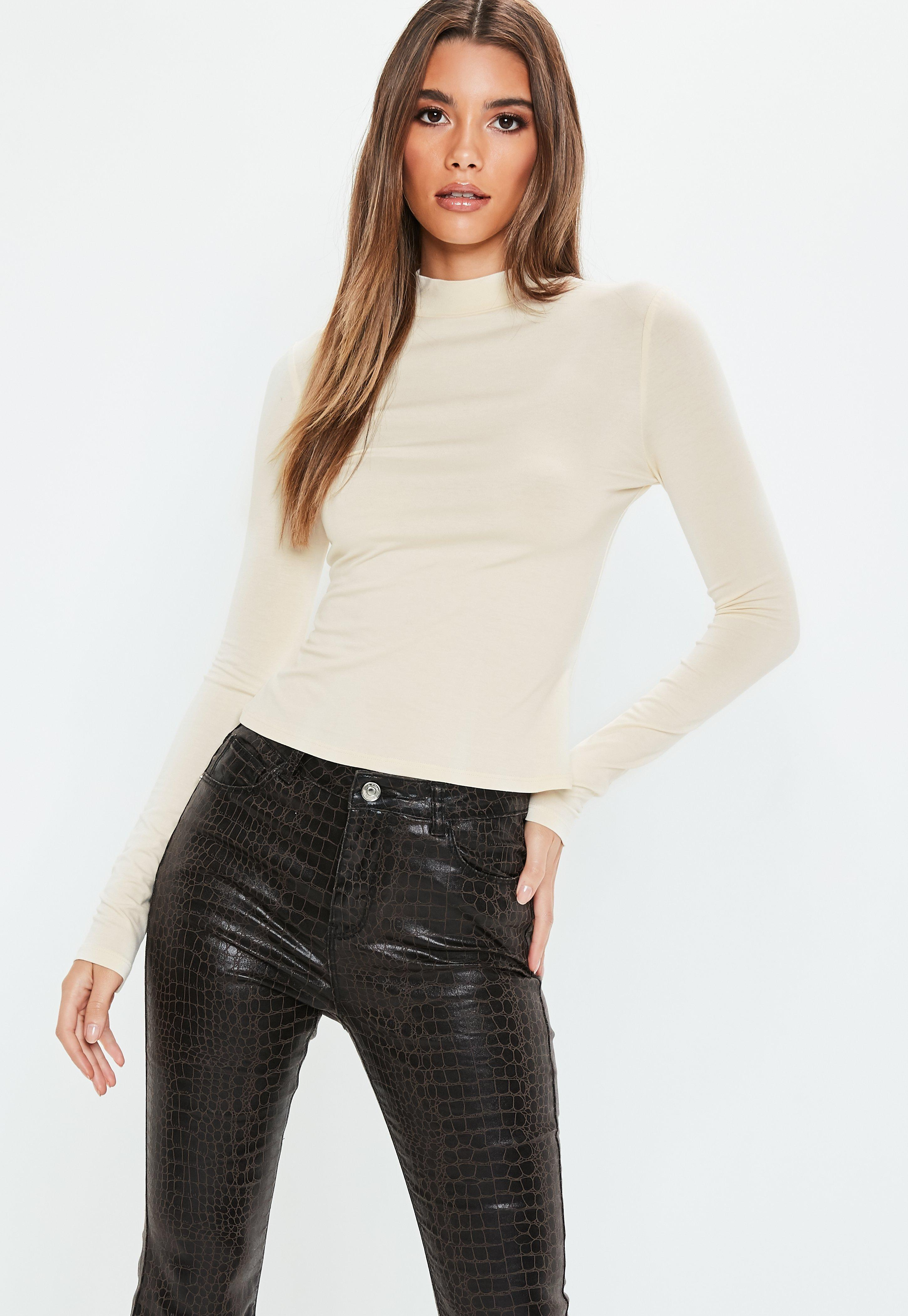 f573e115546ebb Missguided - Natural Nude Long Sleeve Turtle Neck Top - Lyst. View  fullscreen