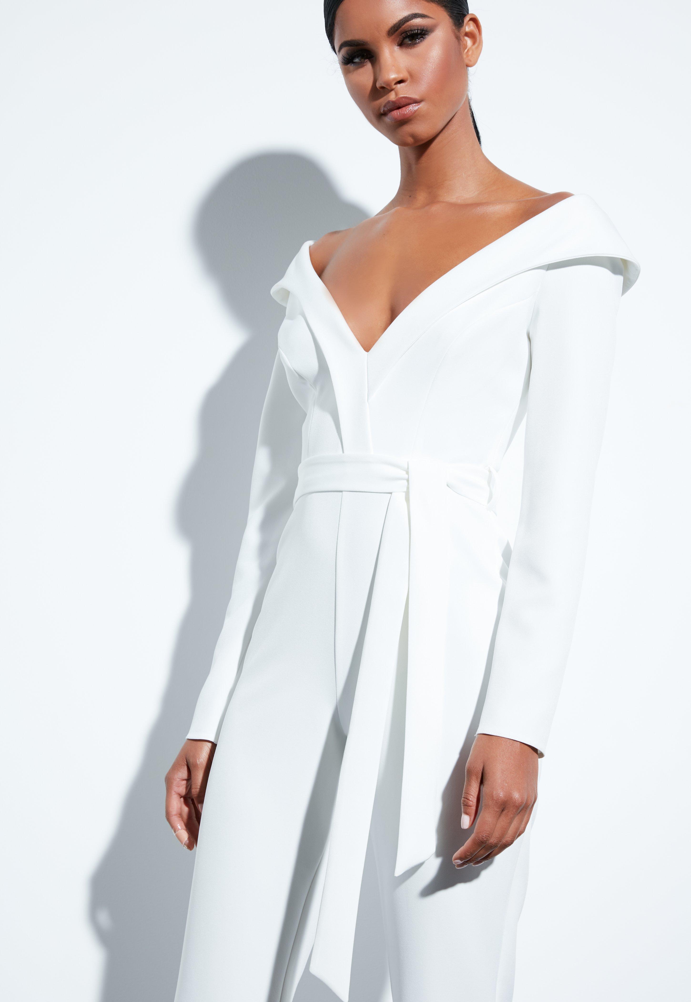 4cdf0b02a289 Missguided - Peace + Love White Bardot Flared Jumpsuit - Lyst. View  fullscreen