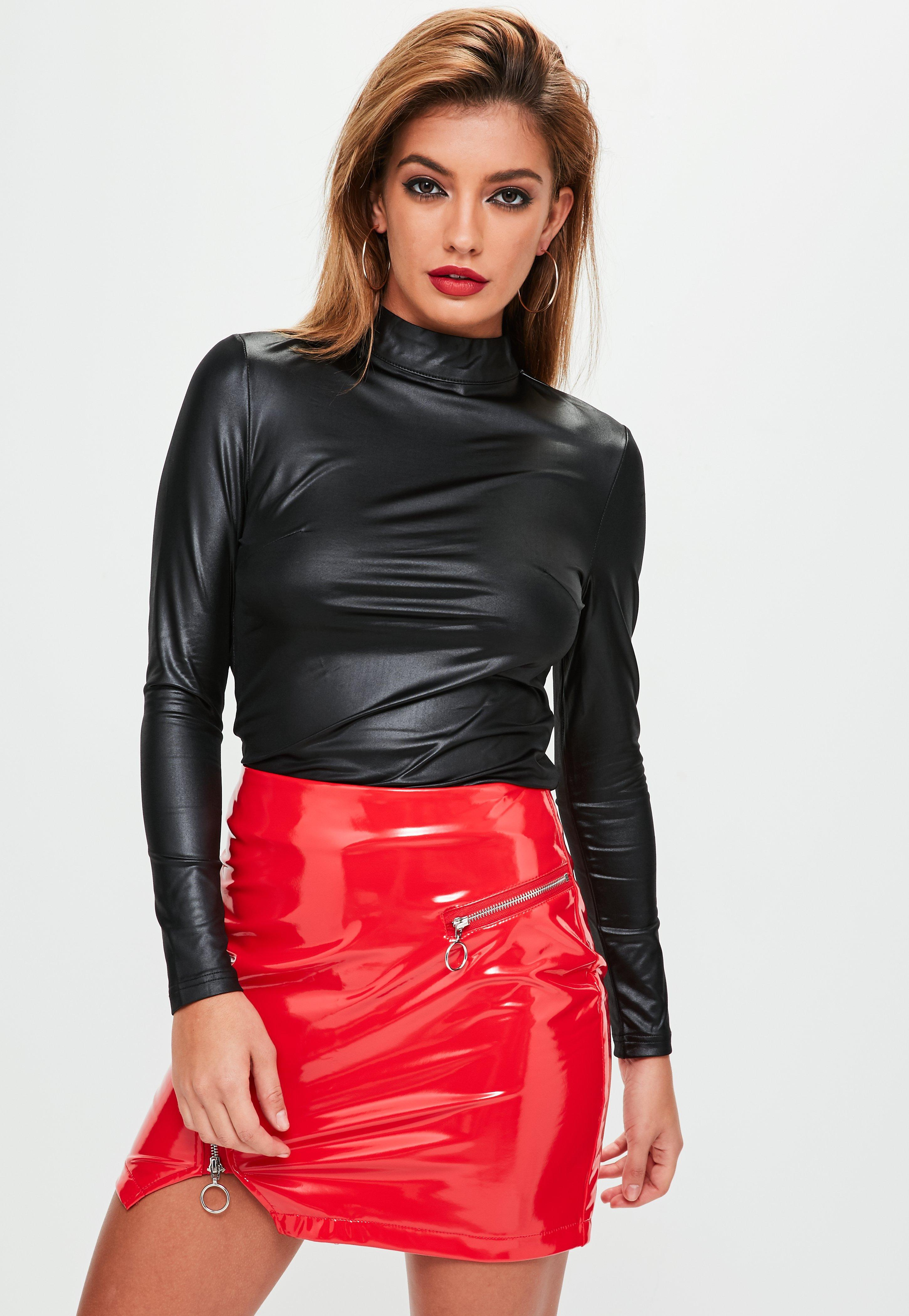 Lyst - Missguided Nude Button Front Satin Cropped Blouse