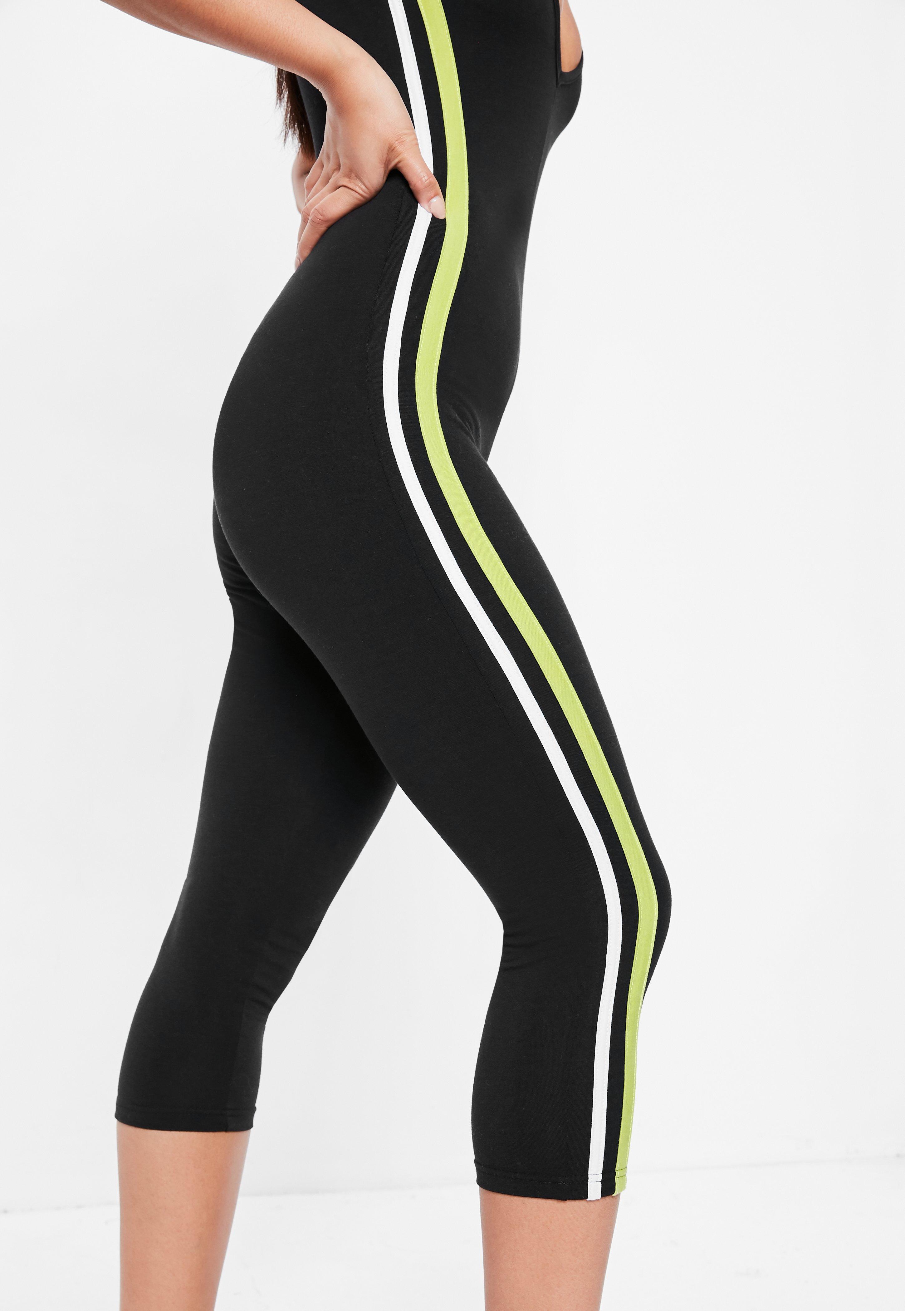 49a5612ba923 Lyst - Missguided Black Side Stripe Jersey Unitard Jumpsuit in Black