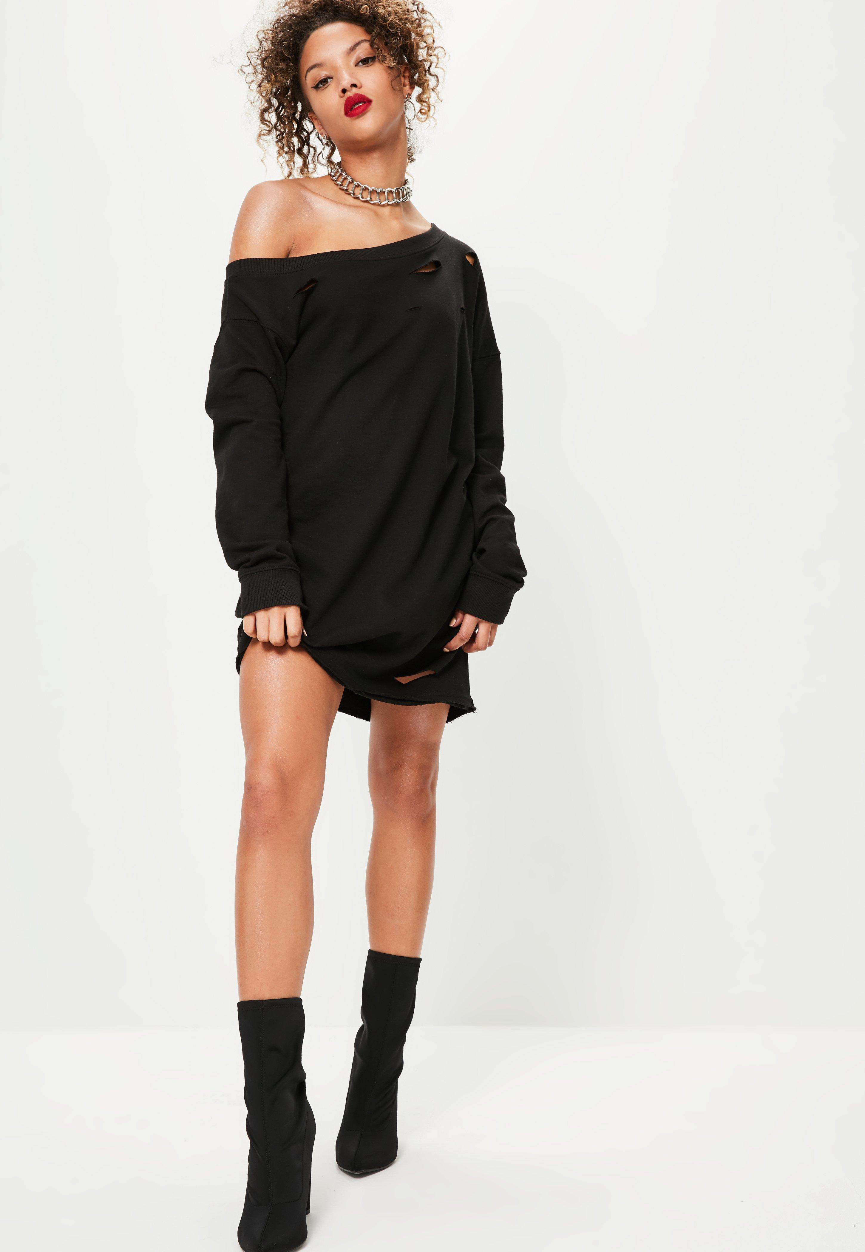 978adf3b1 Lyst - Missguided Ripped Oversized Sweater Dress Black in Black