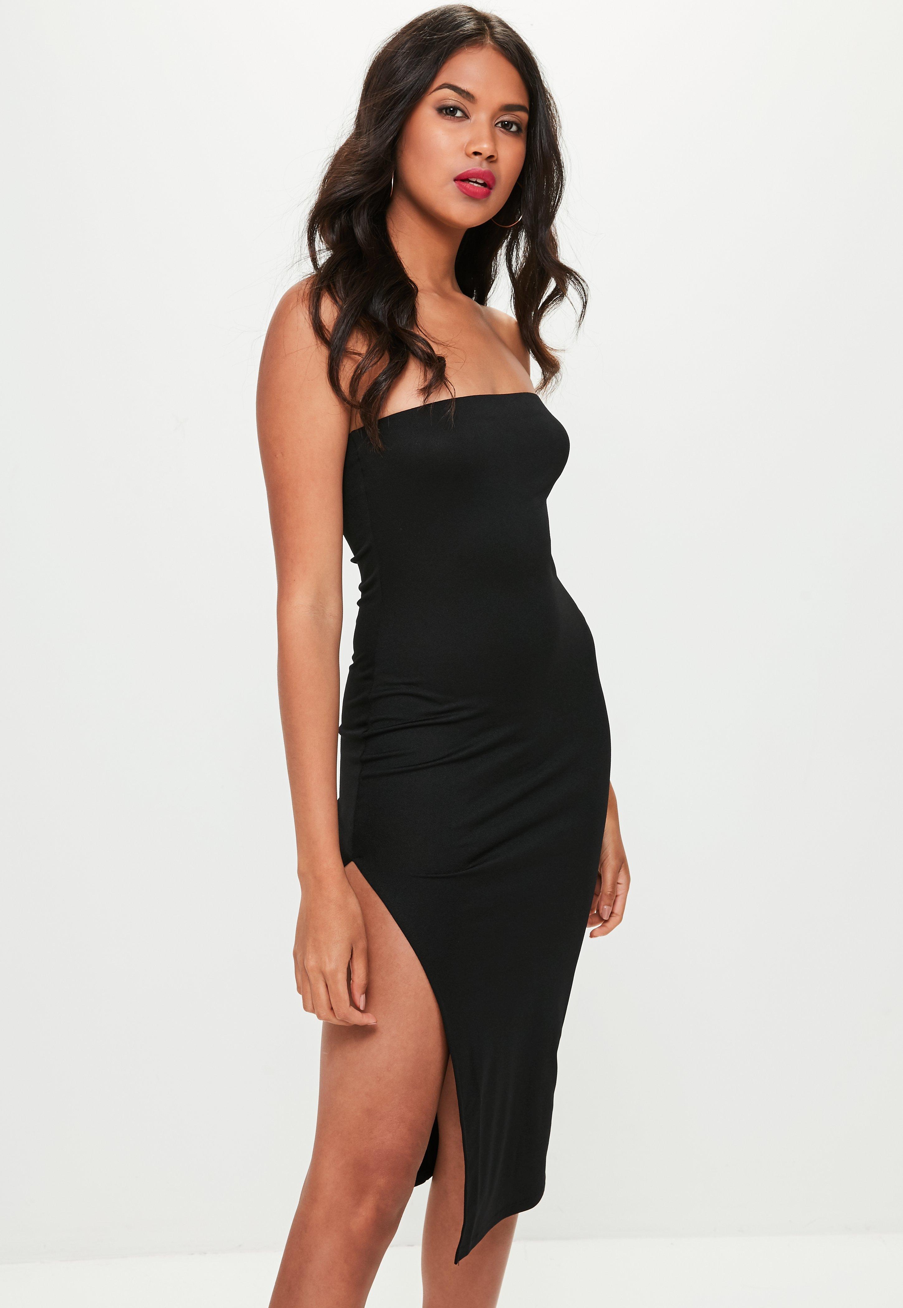 Lyst Missguided Black Split Side Bandeau Midi Dress In Black
