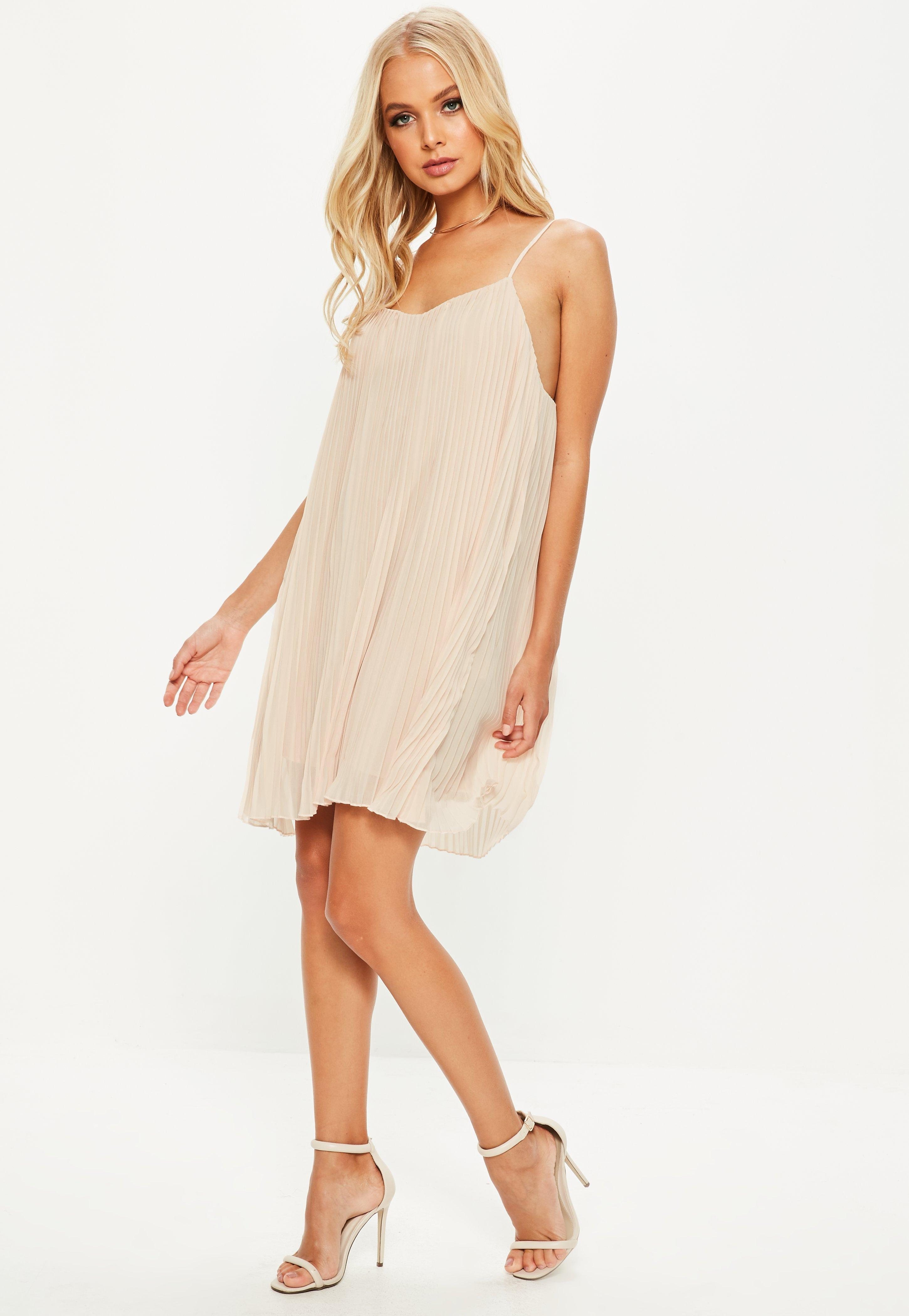 dcb273bf0f26 Lyst - Missguided Nude Strappy Pleated Swing Dress in Natural