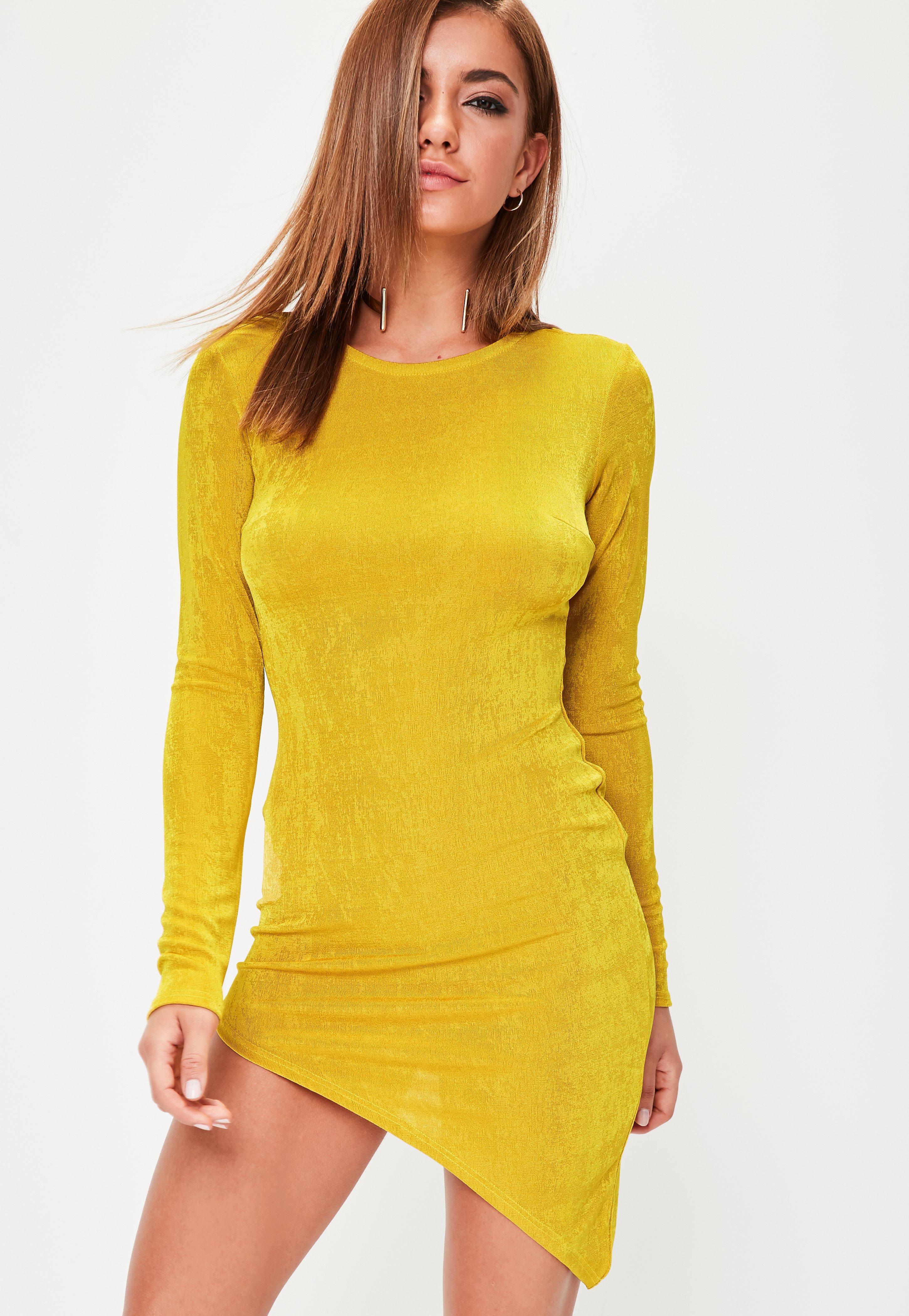 Yellow bodycon dress uk