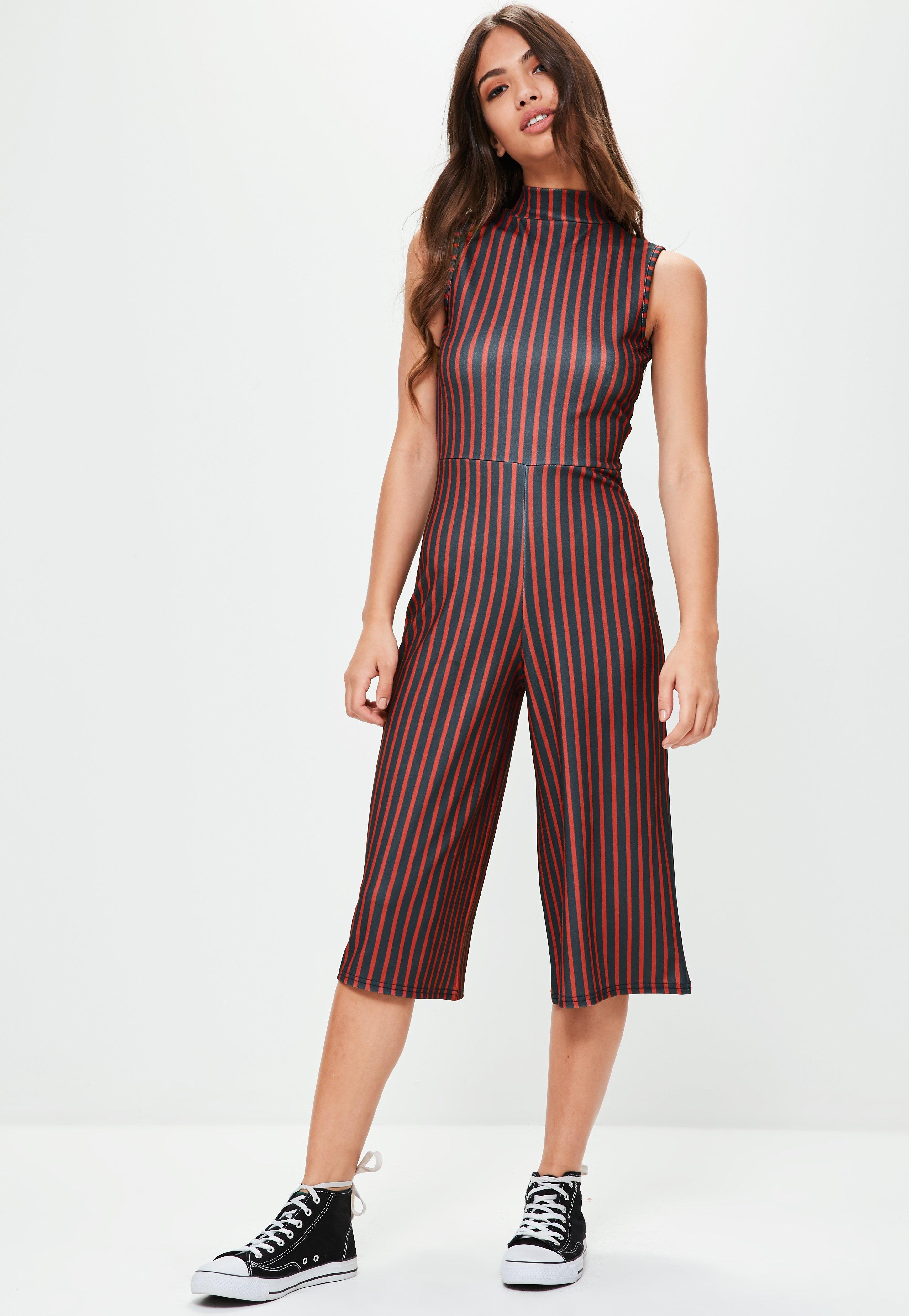 06940970e3 Black And White Striped Jumpsuit Missguided – DACC