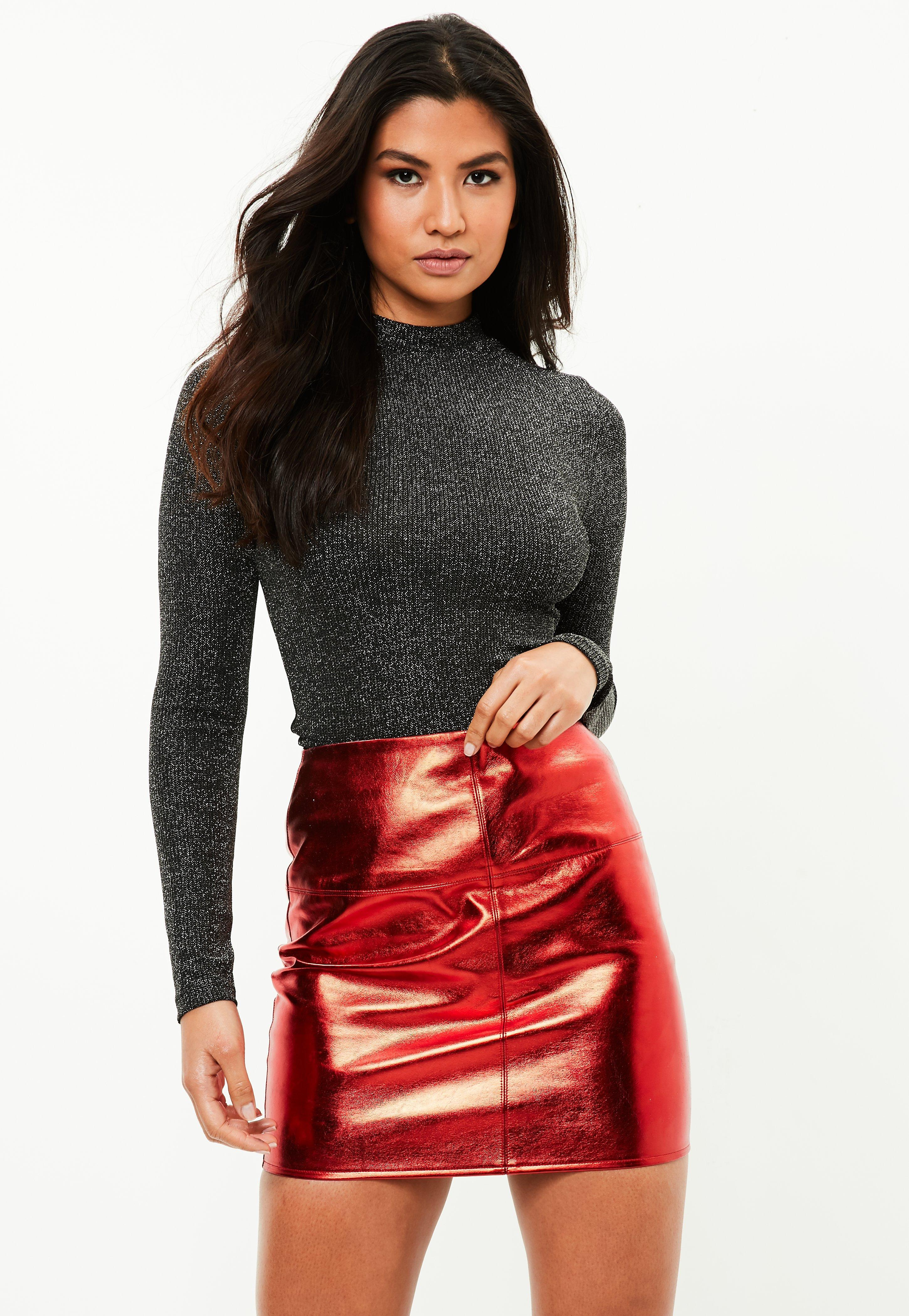 22682c9a72 Missguided Red Metallic Faux Leather Mini Skirt in Red - Lyst