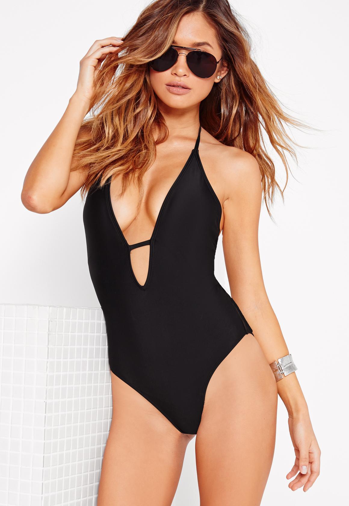 7571fba6992 Lyst - Missguided Halter Neck Plunge Swimsuit Black in Black - Save 64%