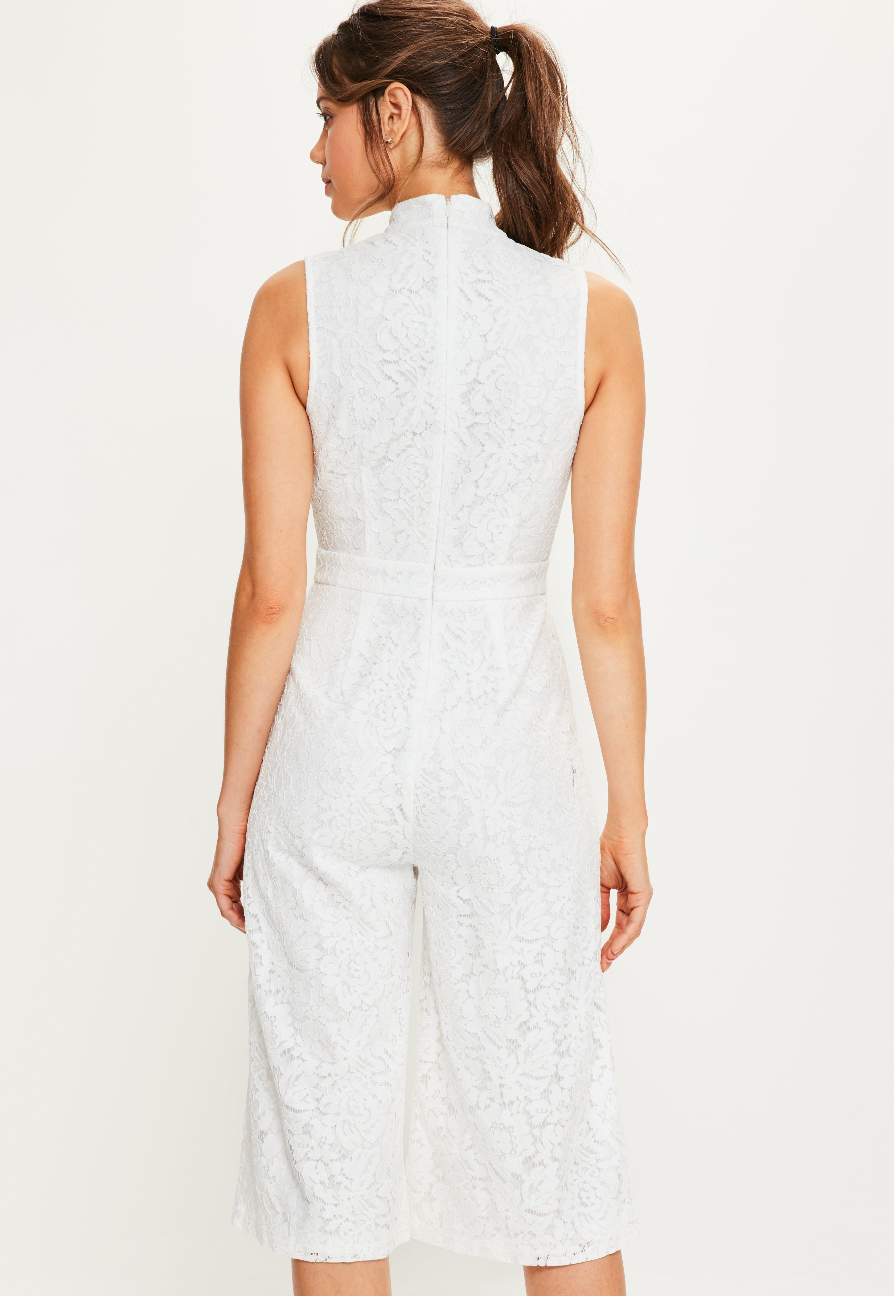 bea9e55287de Lyst - Missguided White High Neck Lace Culotte Jumpsuit in White
