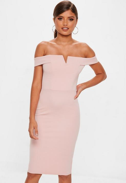 f2f111316adb Missguided Rose V Front Bardot Midi Dress in Pink - Lyst