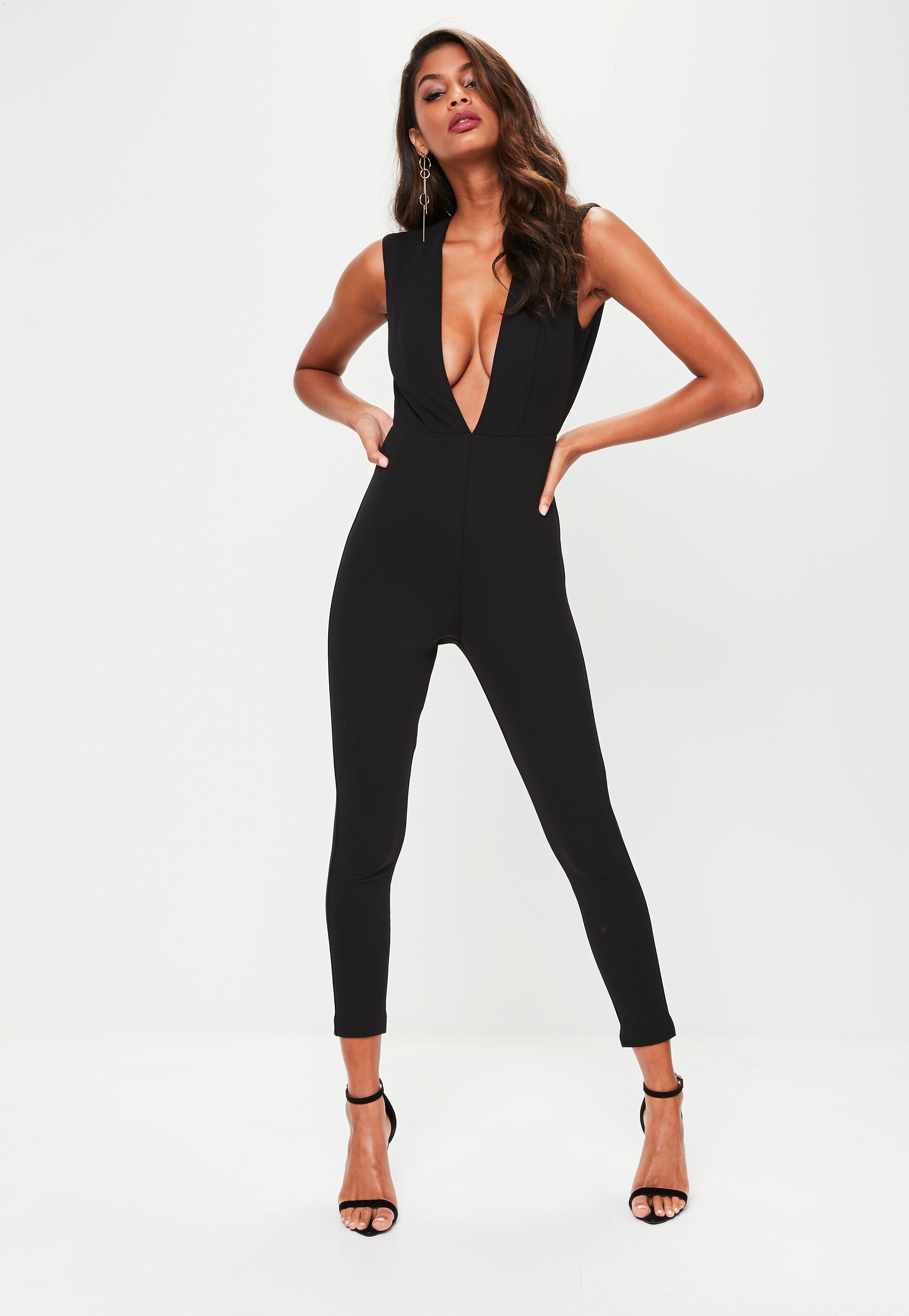 b88c15afbea Lyst - Missguided Black Cut Out Backless Jumpsuit in Black