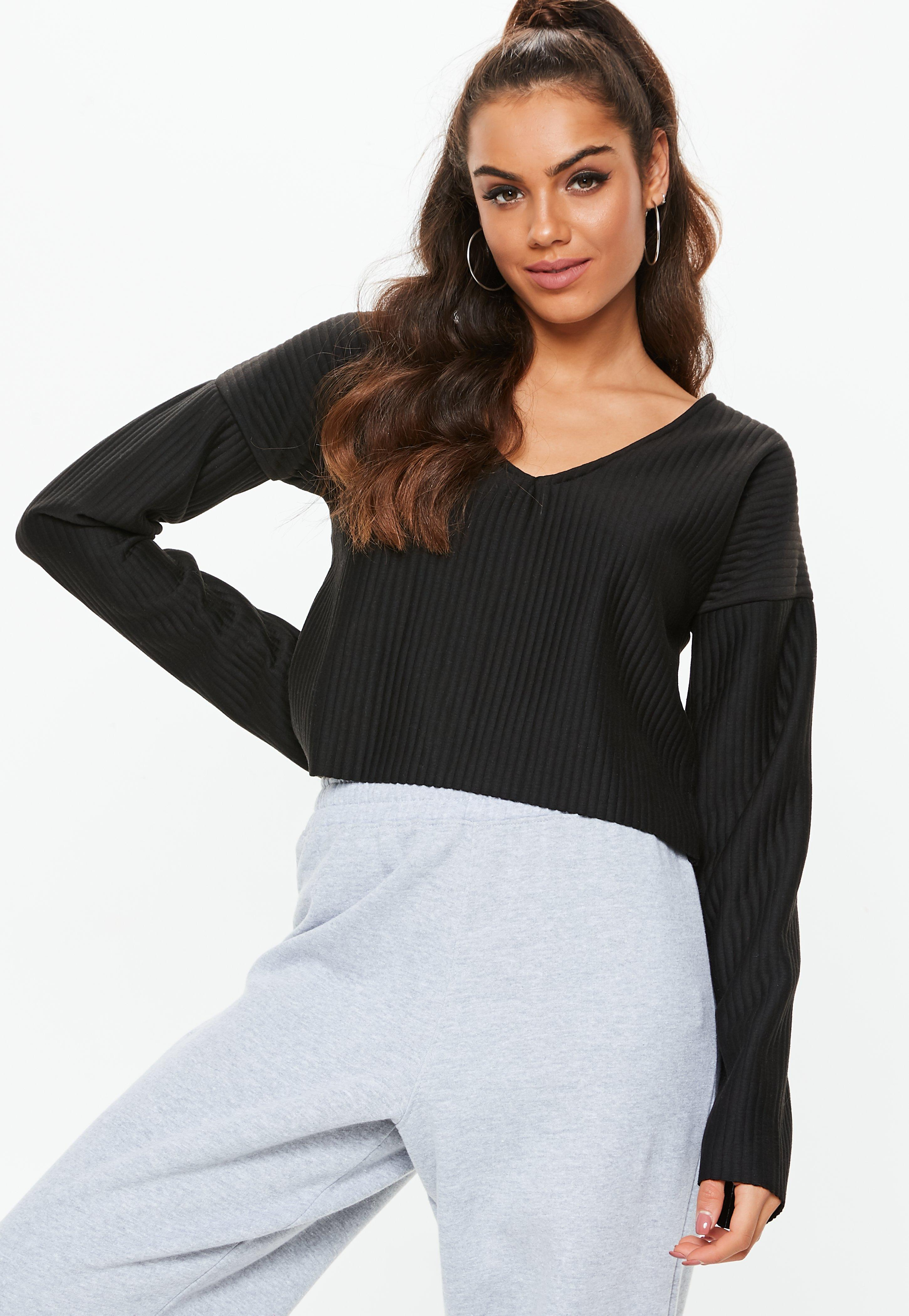 f25a29070 Lyst - Missguided Black Boxy Chunky Ribbed Cropped Sweatshirt in Black